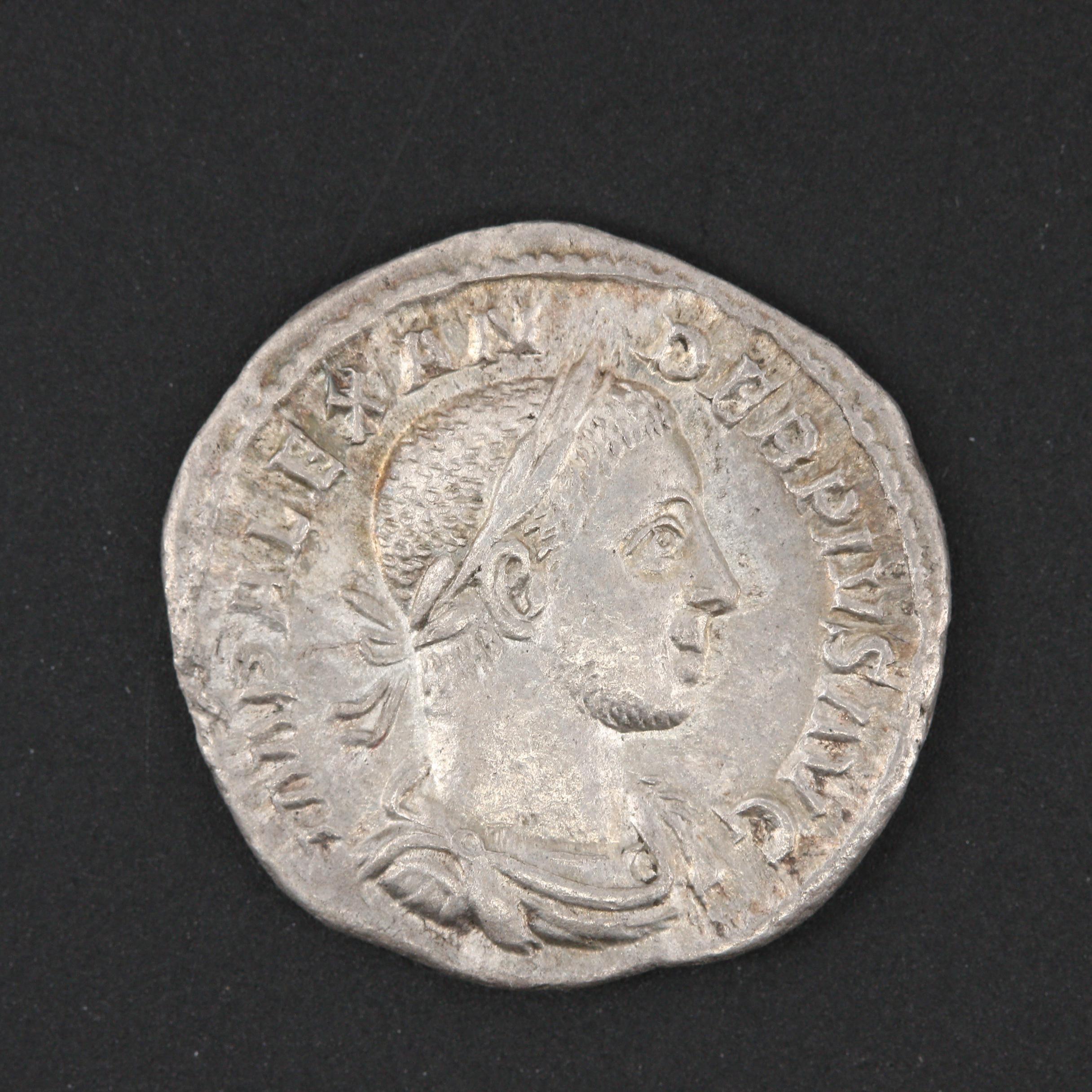 Ancient Roman Imperial Severus Alexander AR Denarius, ca. 232 A.D.