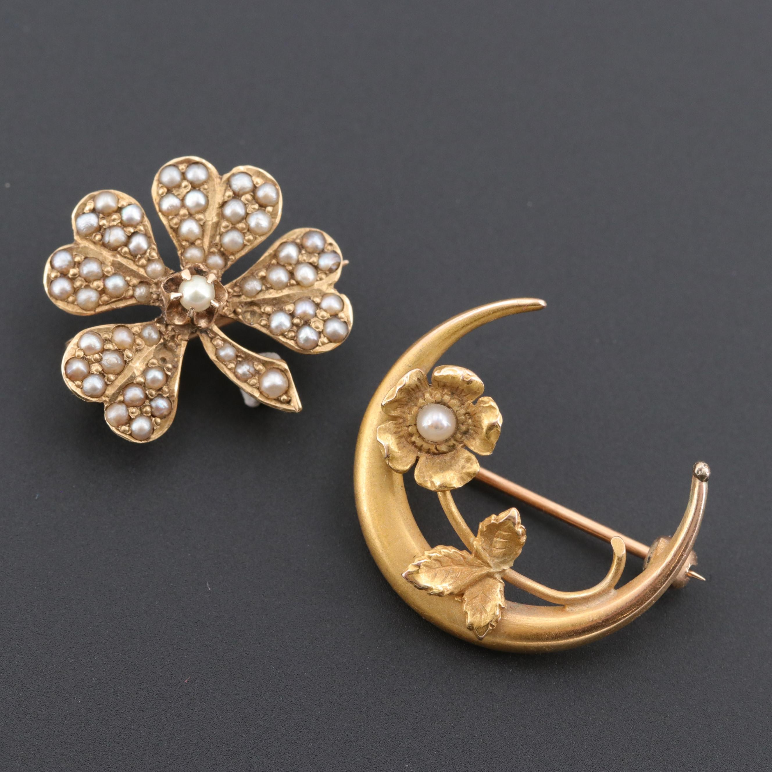 Victorian 14K Yellow Gold Cultured Pearl Honeymoon and Clover Brooches