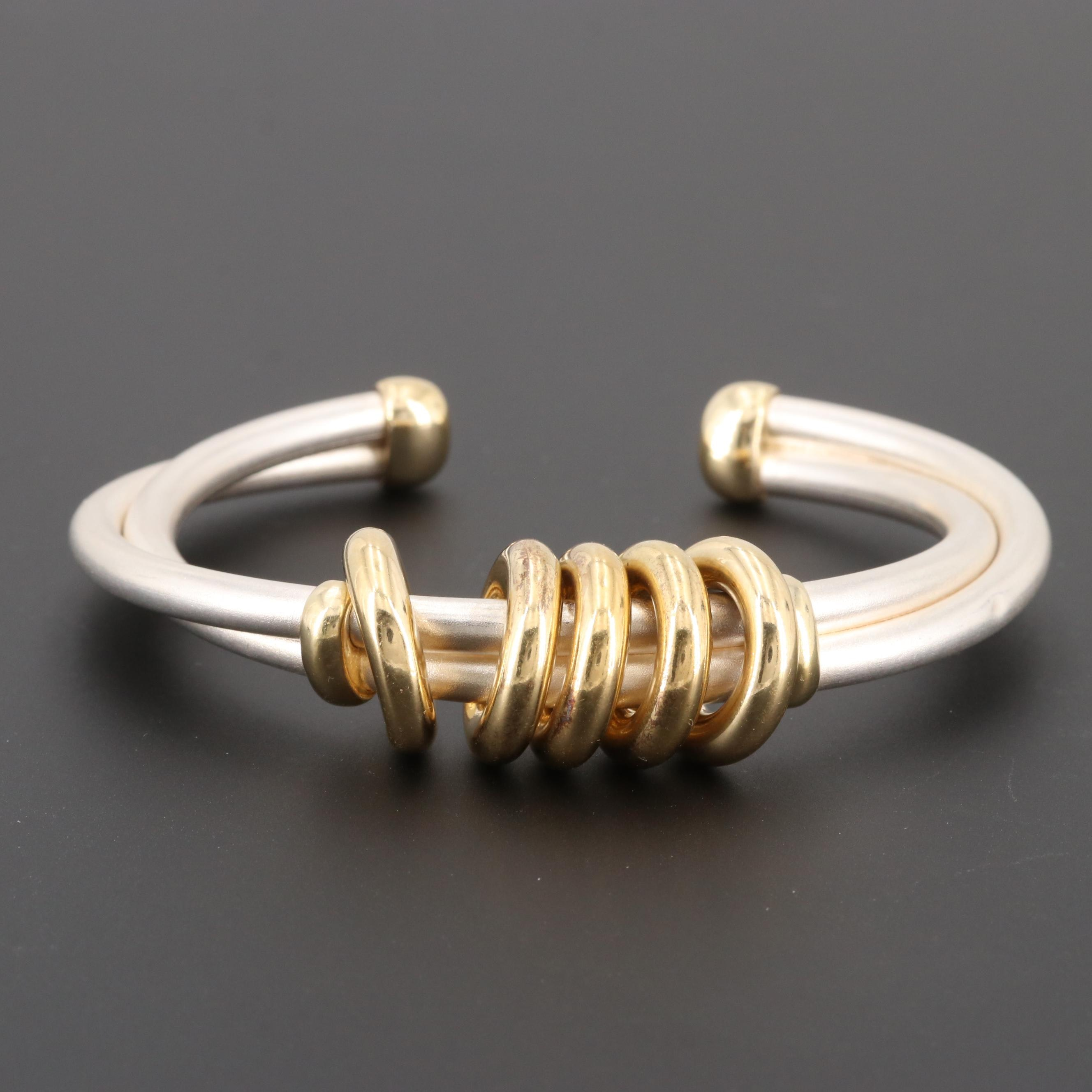 Una Erre Sterling Silver Cuff Bracelet with Gold Wash Accents