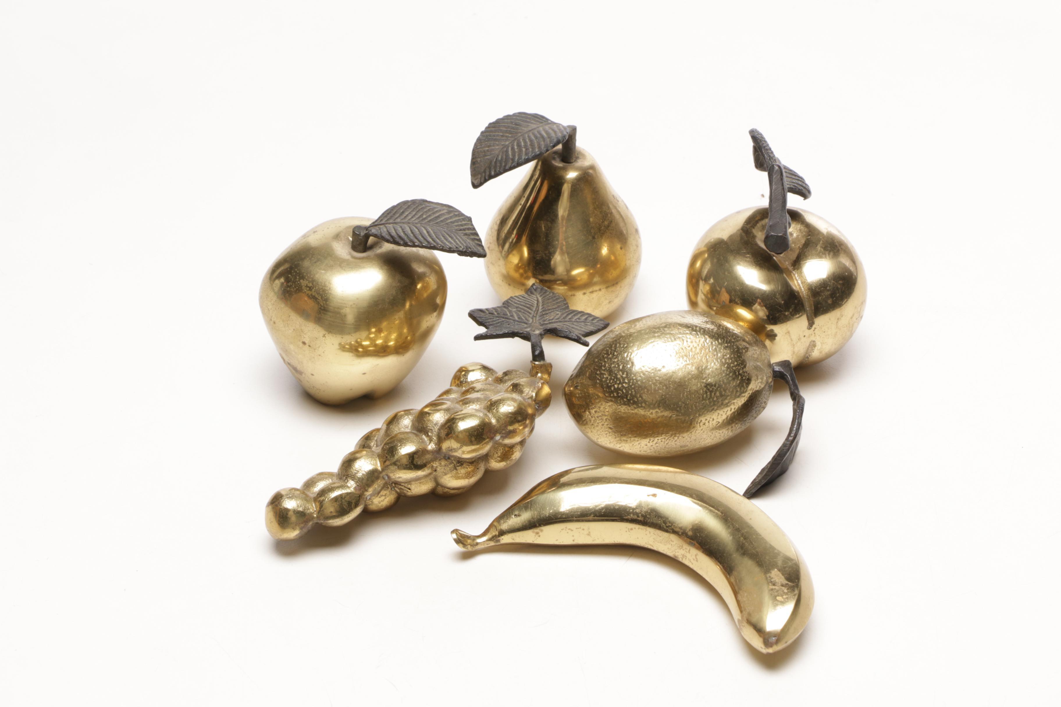 Group of Decorative Brass Fruit