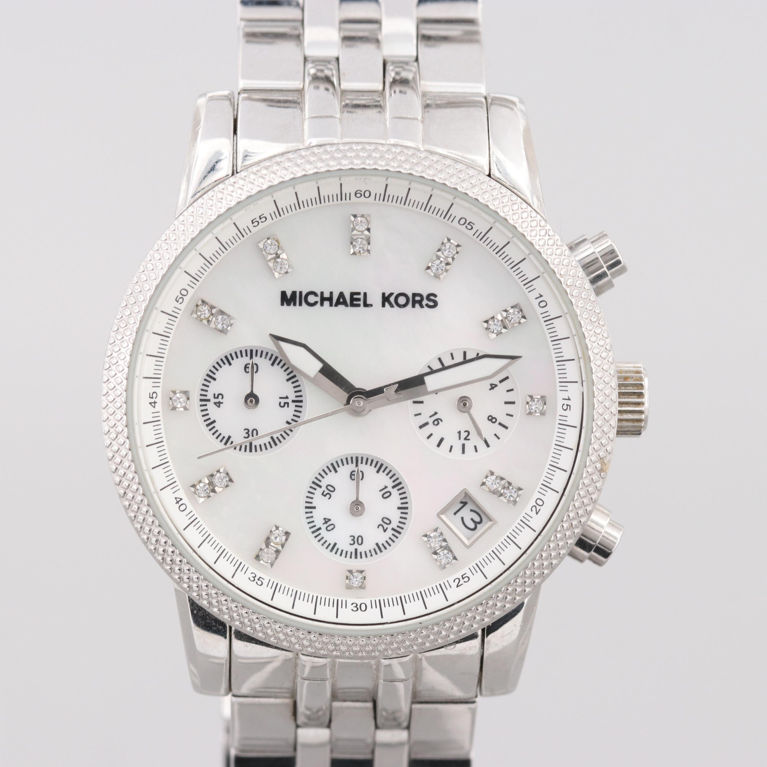 Michael Kors Ritz Stainless Steel Wristwatch With Mother of Pearl Dial