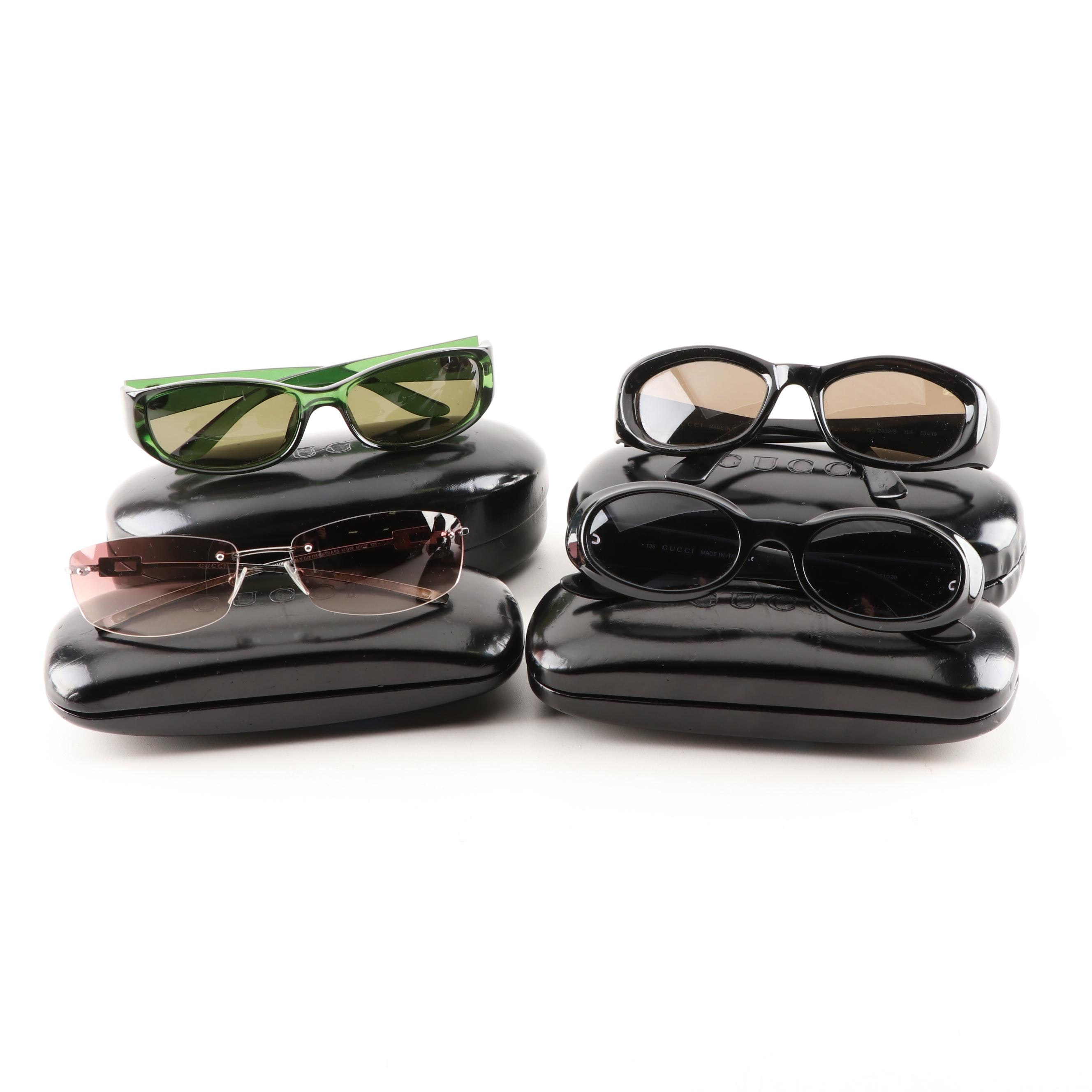 Four Pairs of Women's Gucci Sunglasses with Cases