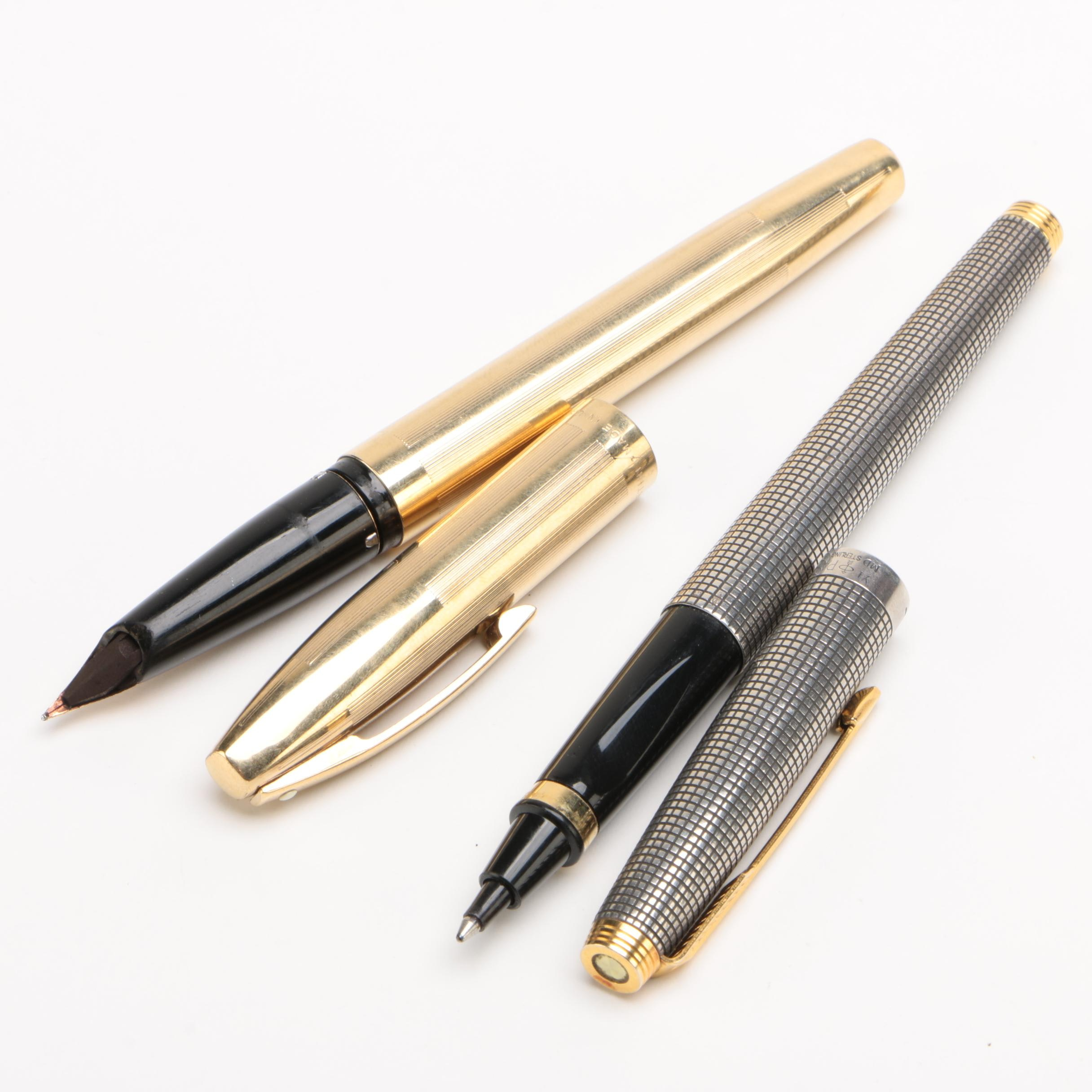 Sheaffer Lifetime Fountain Pen with 14K Gold Nib and French Parker Sterling Pen