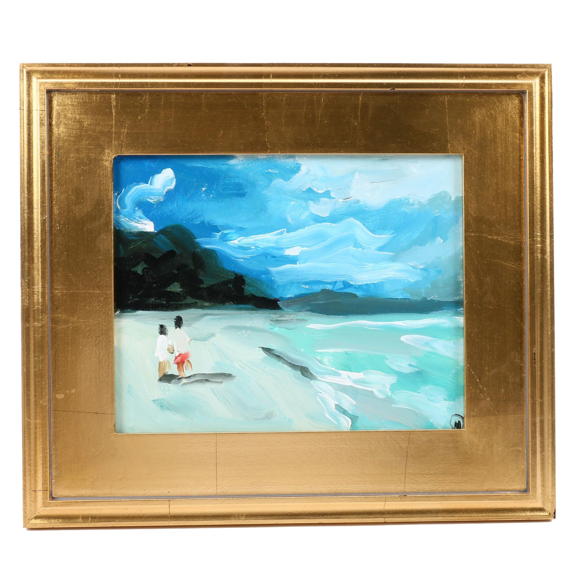 "Martin Azari Oil Painting ""Walk on the Beach"""
