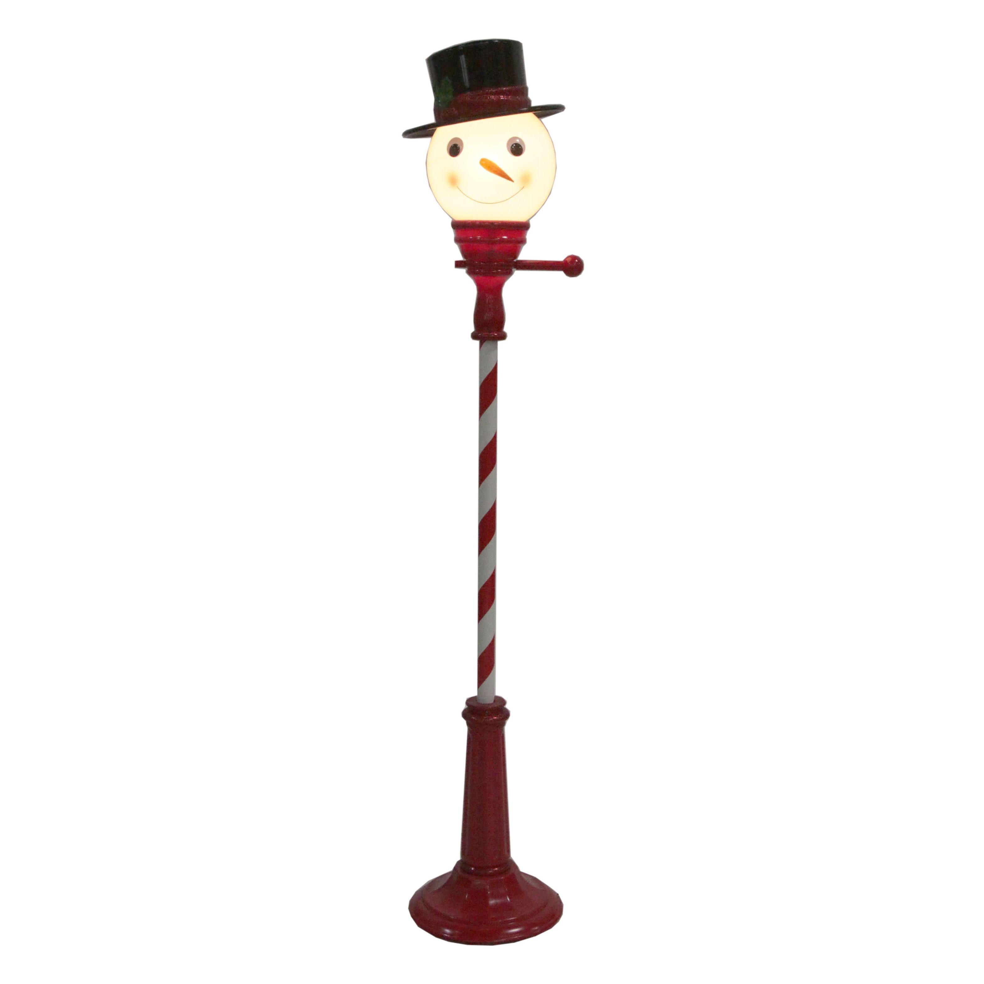 Outdoor Snowman Lamp Post