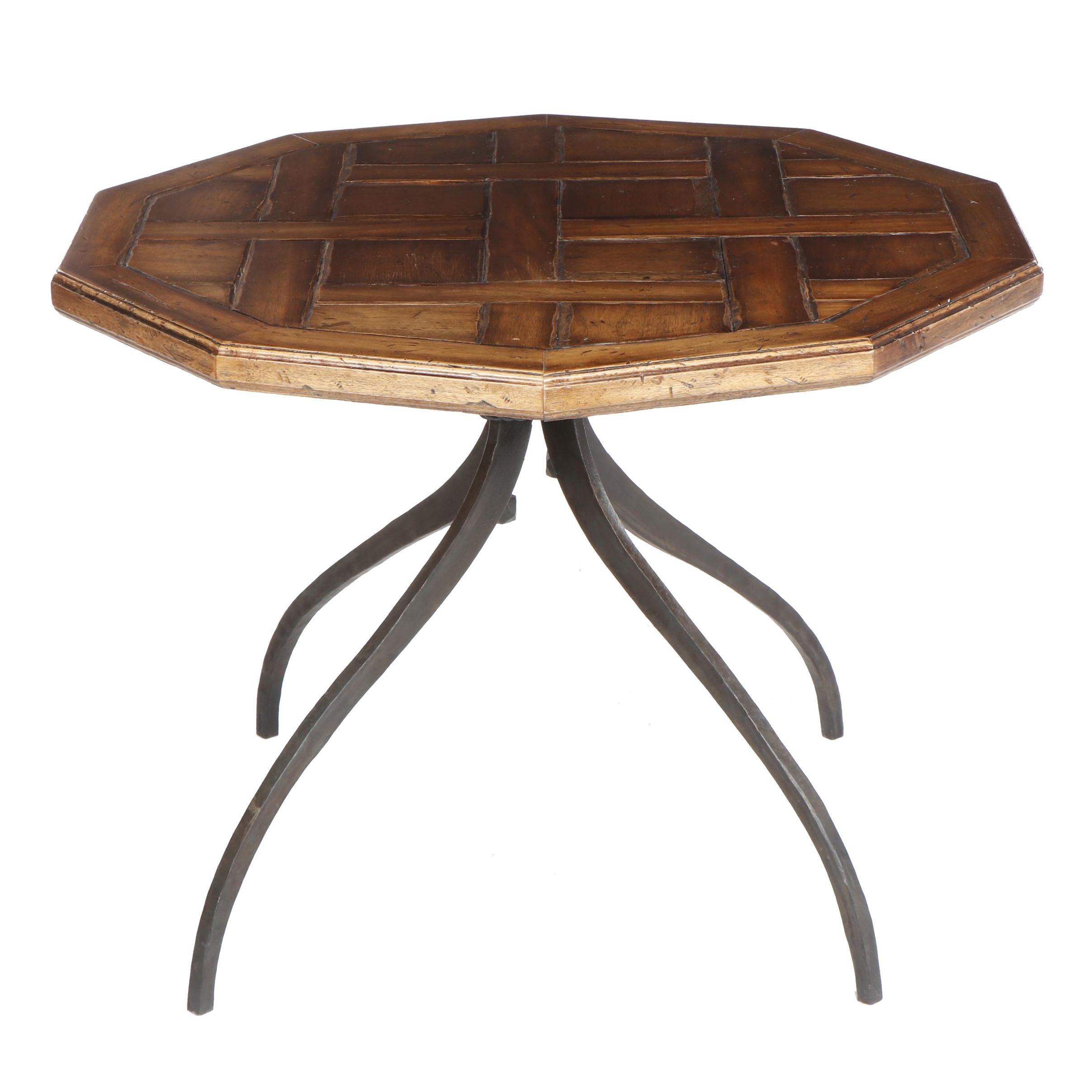 Contemporary Oak Top Accent Table With Woven Design and Iron Base