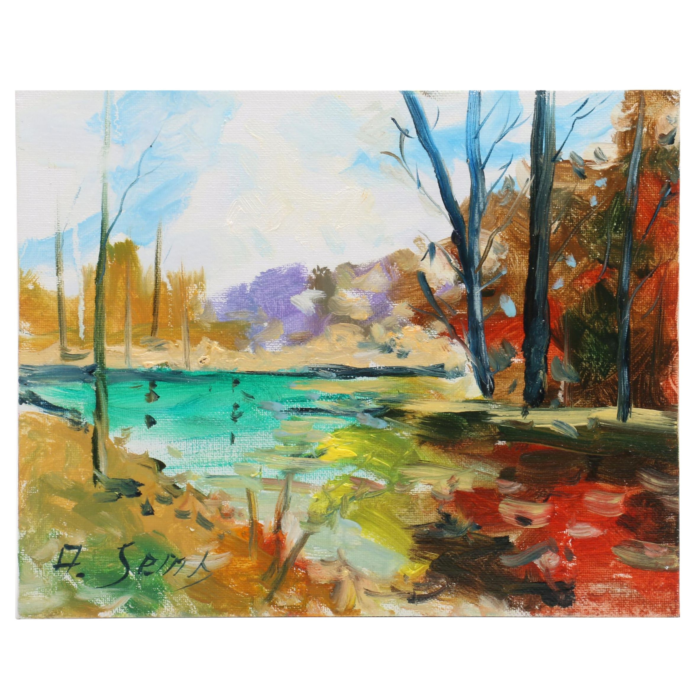 Andrew Semberecki  Impressionist Style Landscape Oil Painting