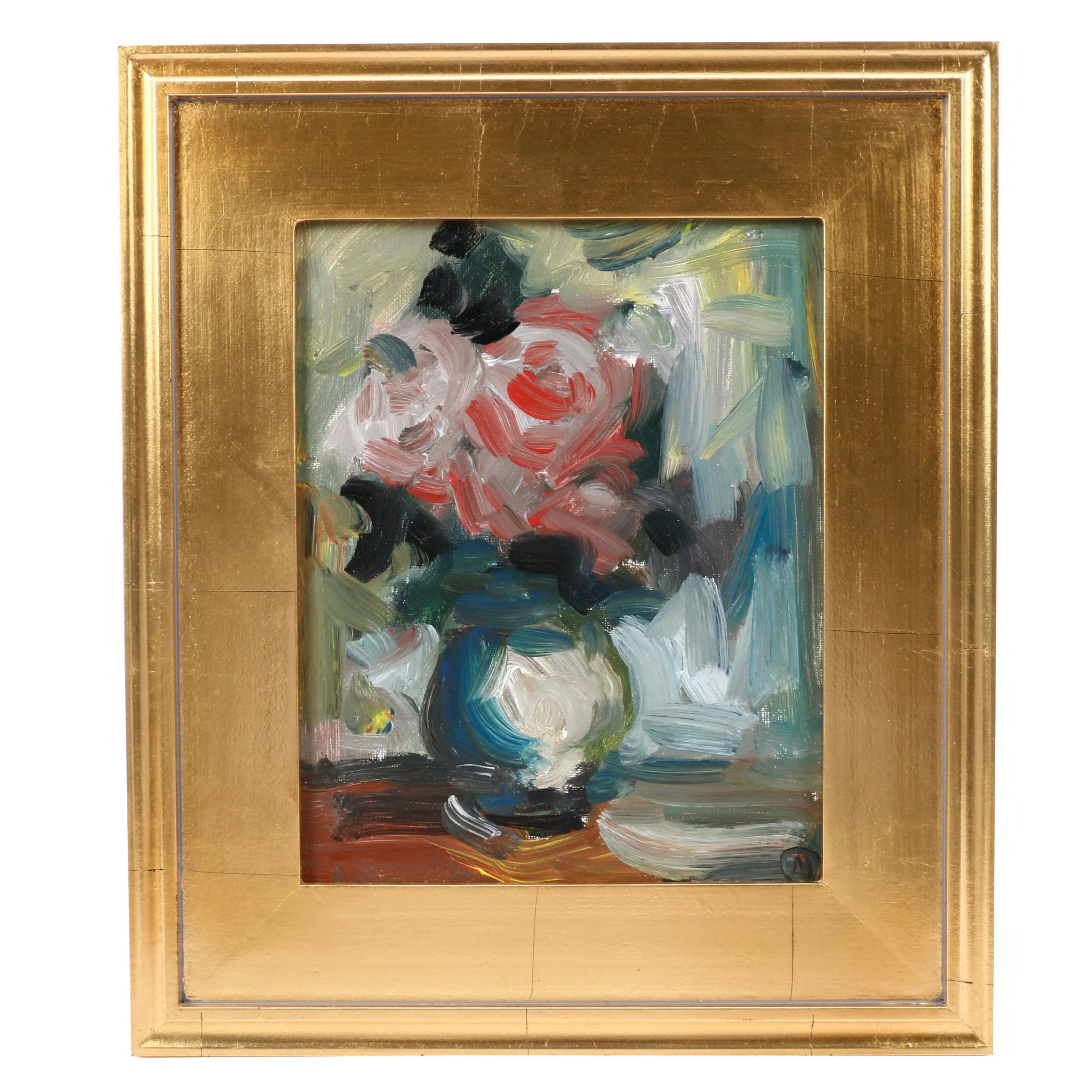 "Martin Azari Oil Painting ""Red Roses"""