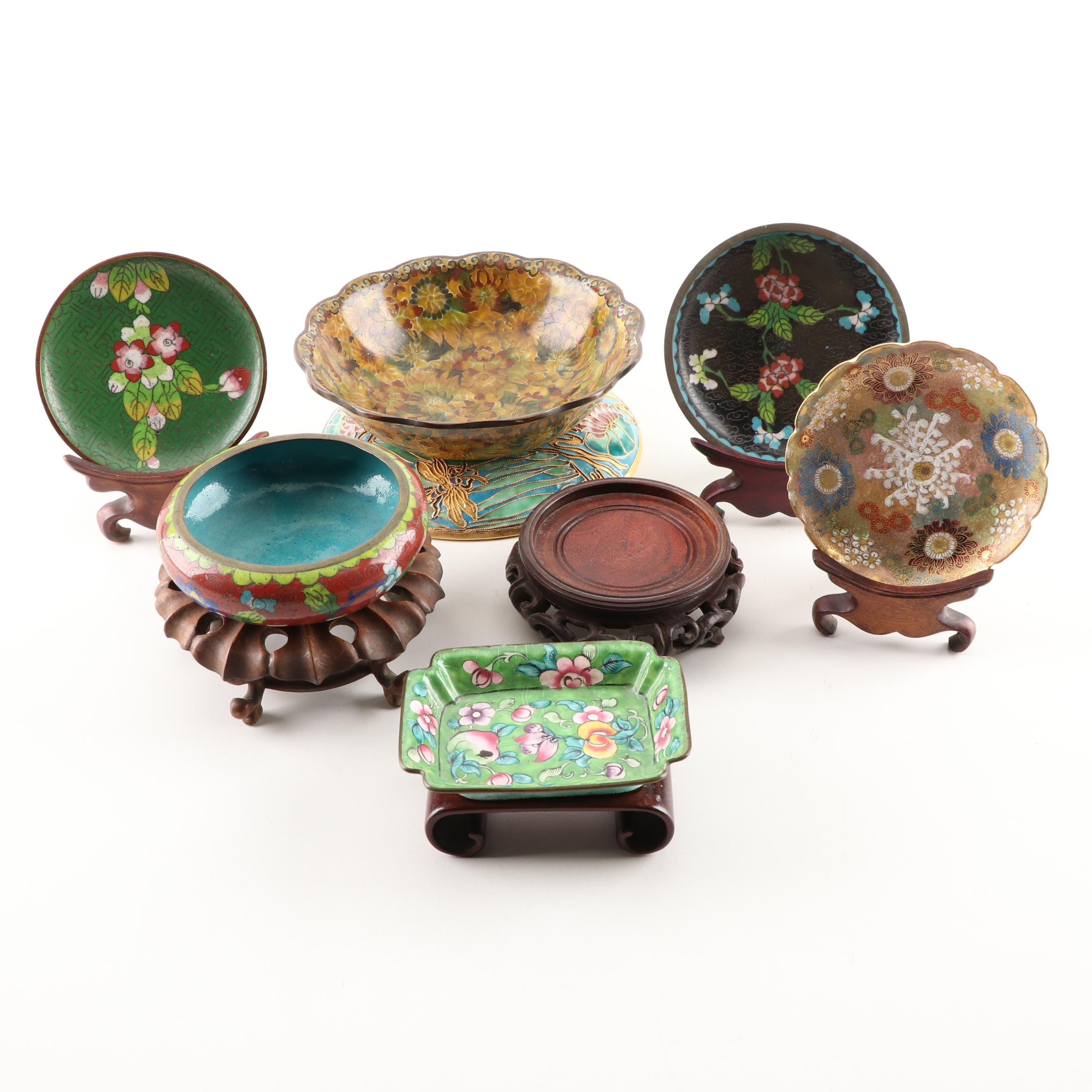 Chinese Cloisonné Bowls with Stands