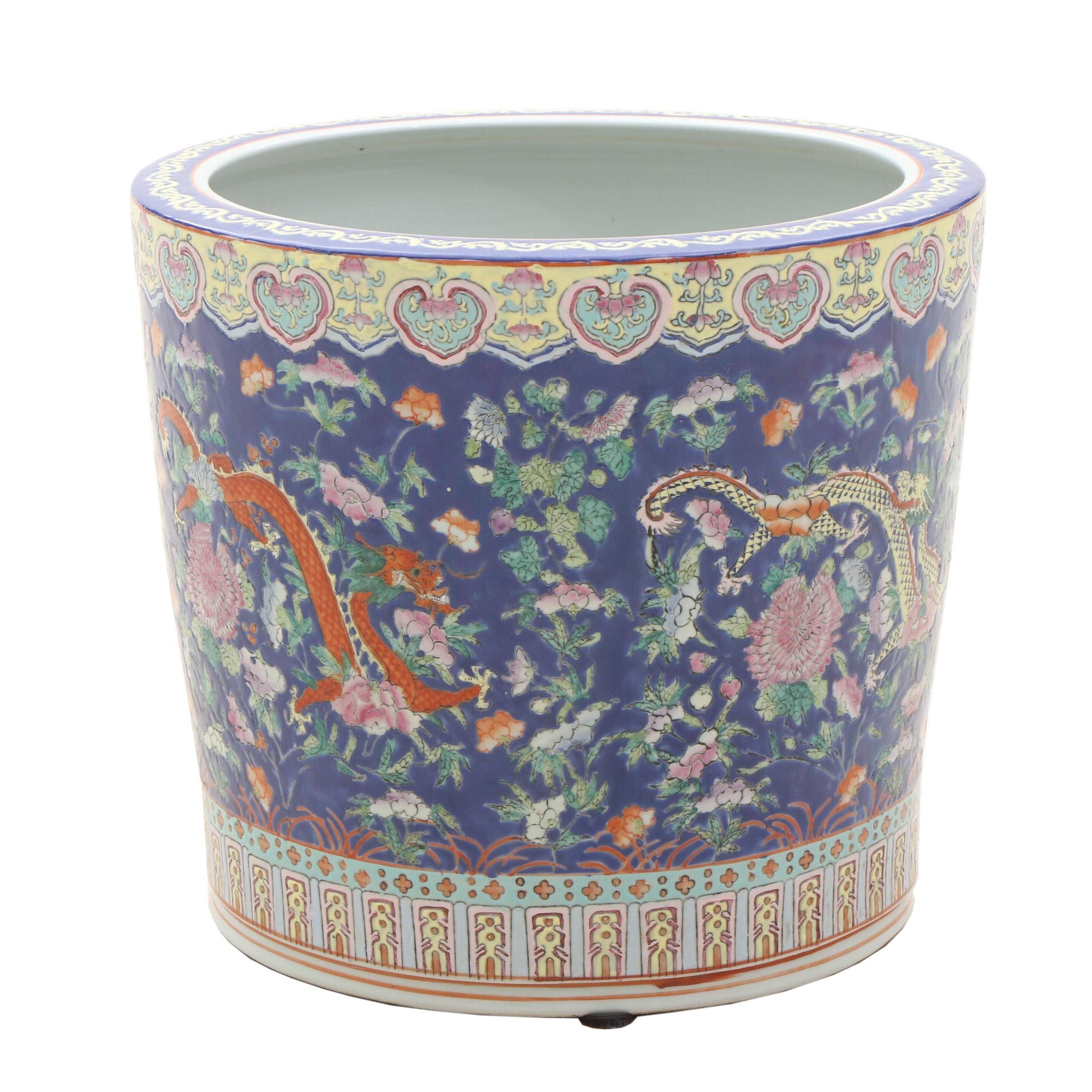 Chinese Dragon Motif Ceramic Planter