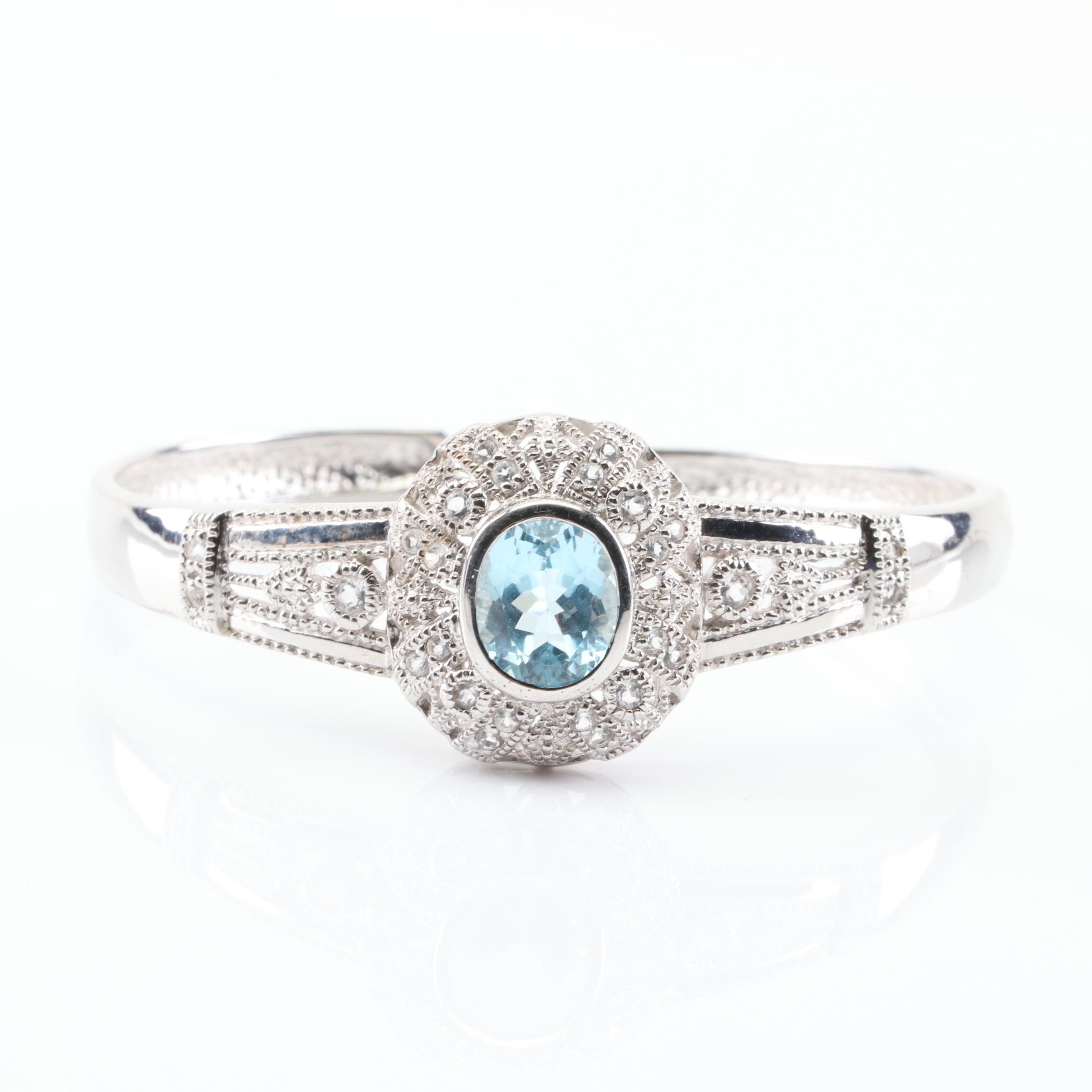 Sterling Silver Blue and White Topaz Filigree Cuff Bracelet