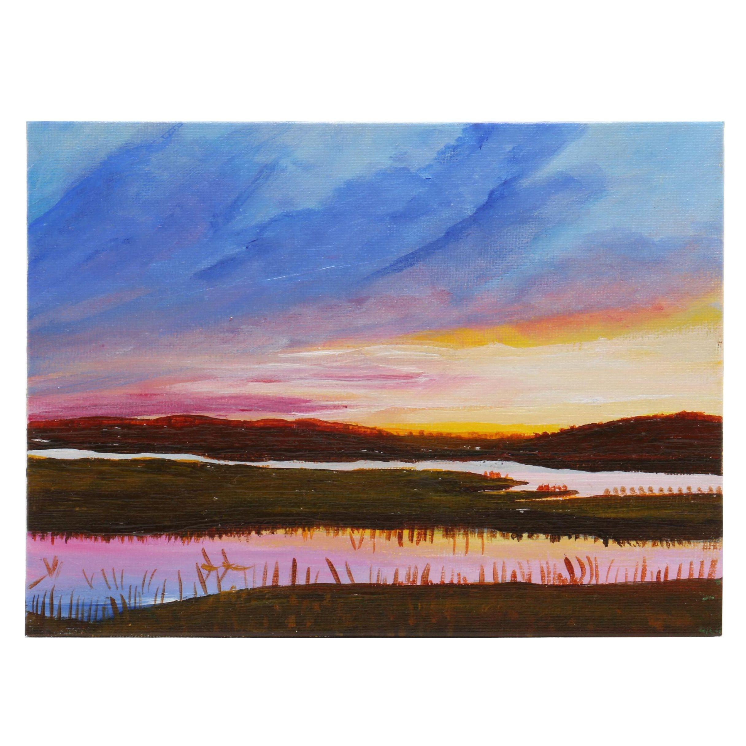 Elena Pronina Acrylic Painting of Landscape at Sunset