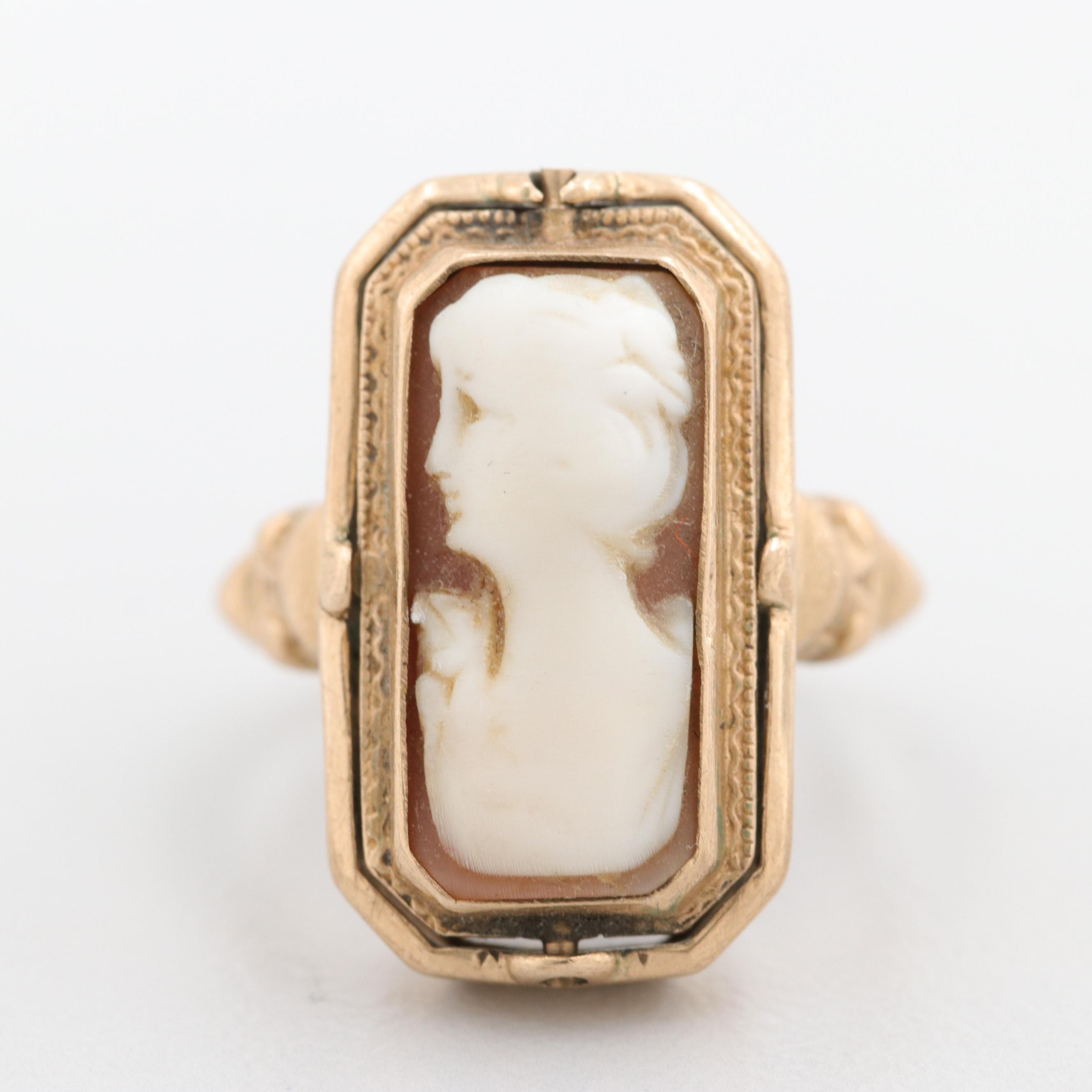 Victorian 10K Yellow Gold Shell Cameo and Black Onyx Flip Ring