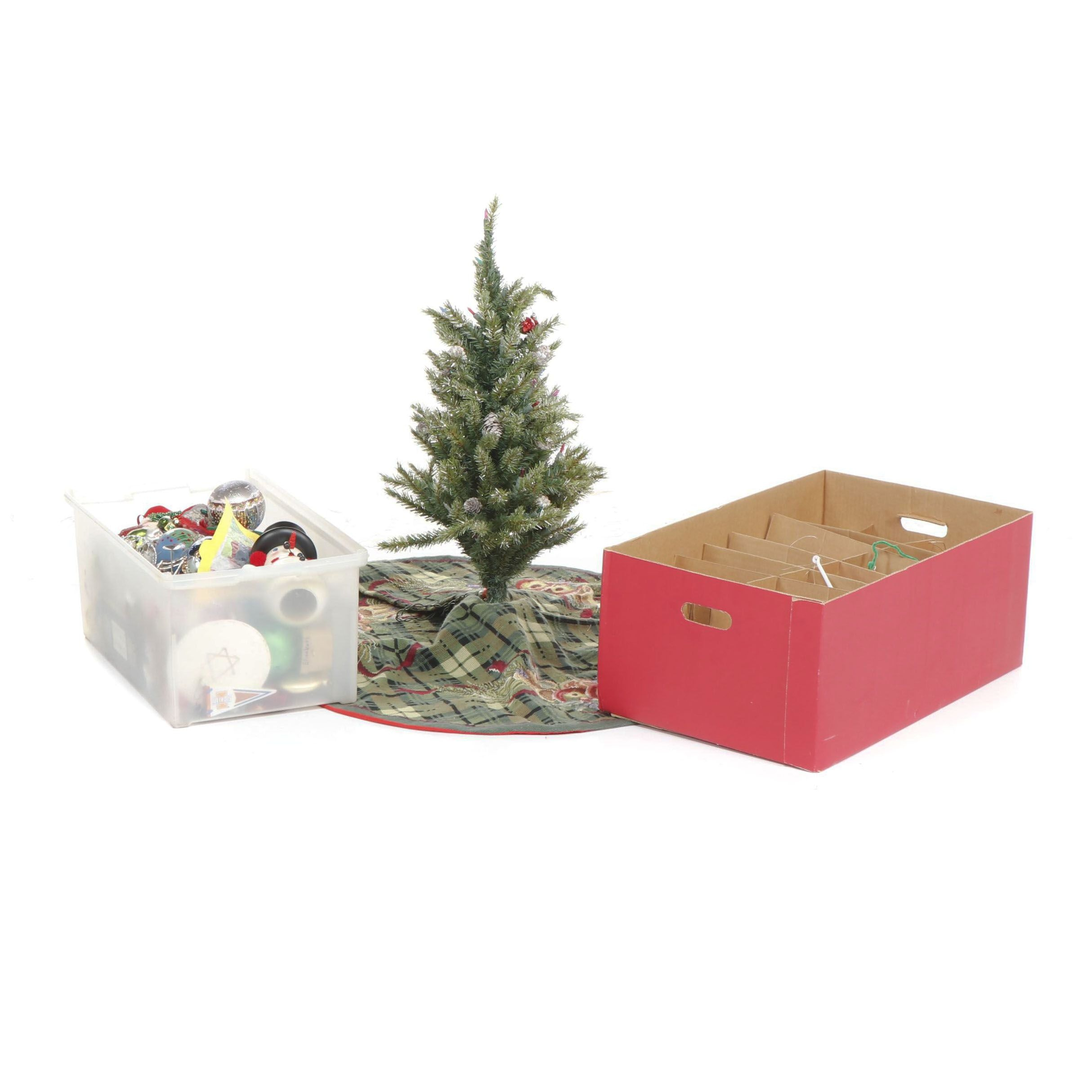 Collection of Christmas Decor Including Ornaments, Miniature Tree, and More