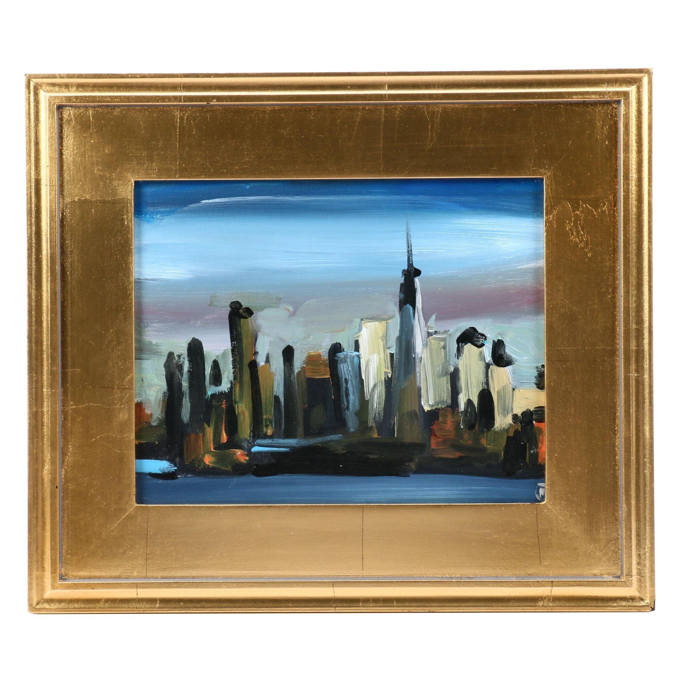 "Martin Azari Oil Painting ""New York Skyline"""