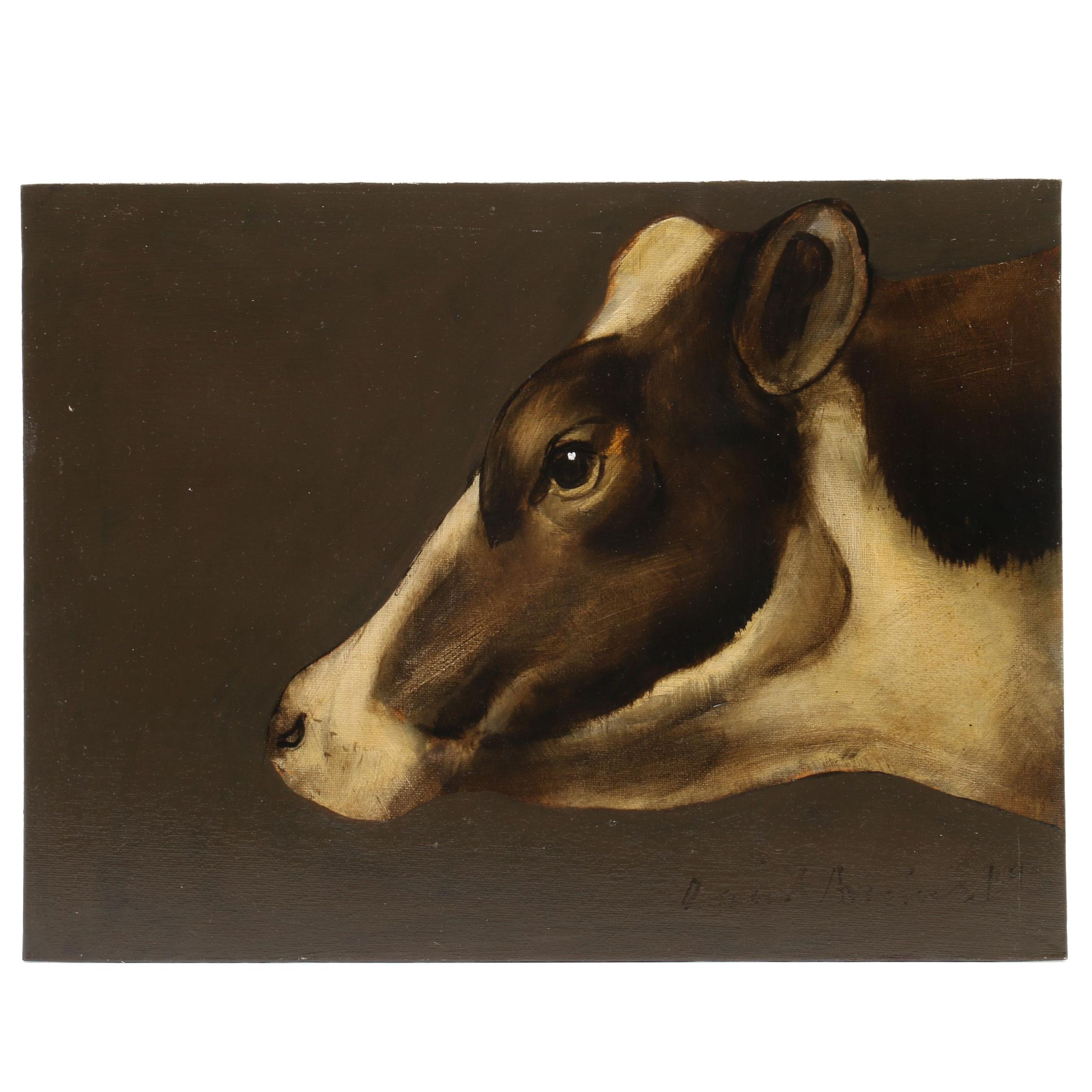David Andrews Oil Painting of Friesian Cow