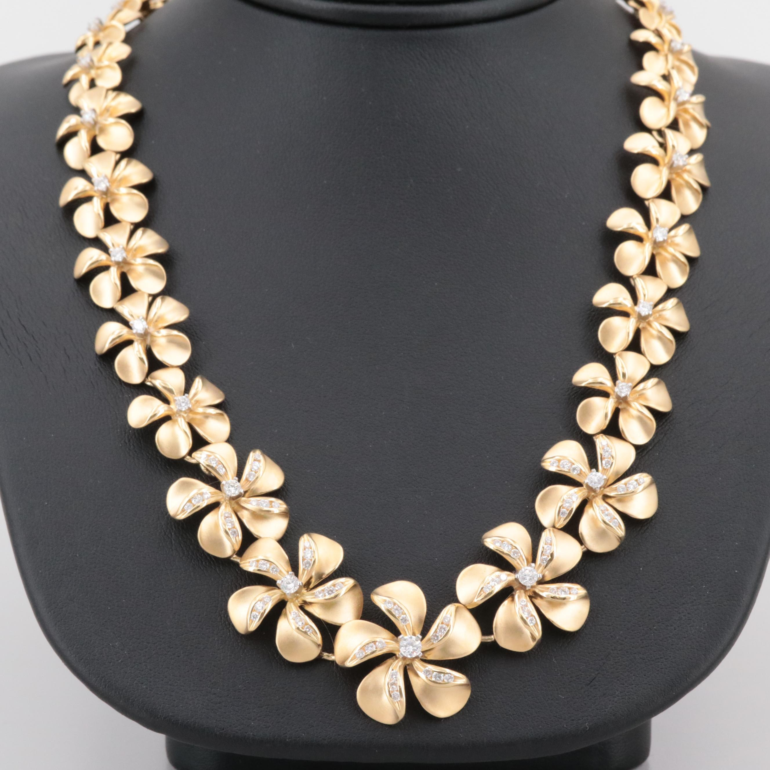 Na Hoku 18K Yellow Gold 2.71 CTW Plumeria Flower Necklace with Platinum Settings