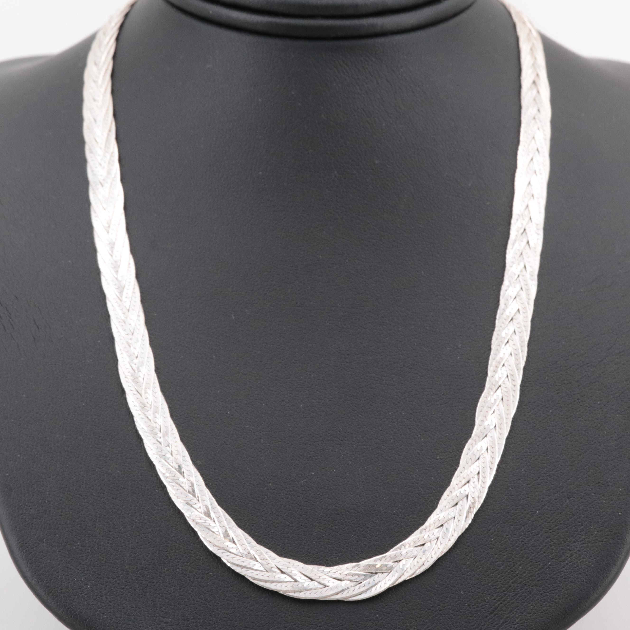 Sterling Silver Braided Foxtail Link Necklace