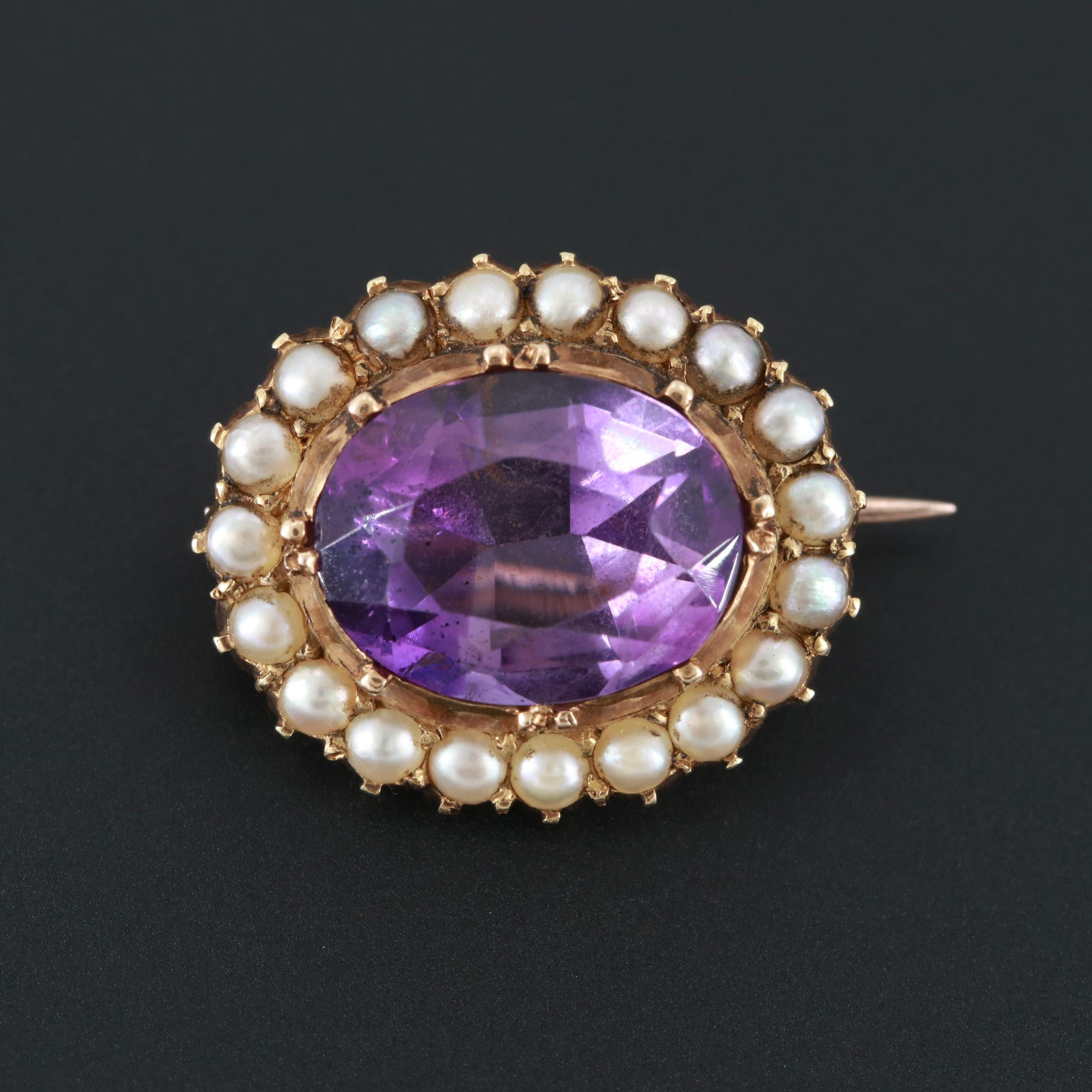 Victorian 15K Yellow Gold Amethyst and Cultured Pearl Converter Brooch