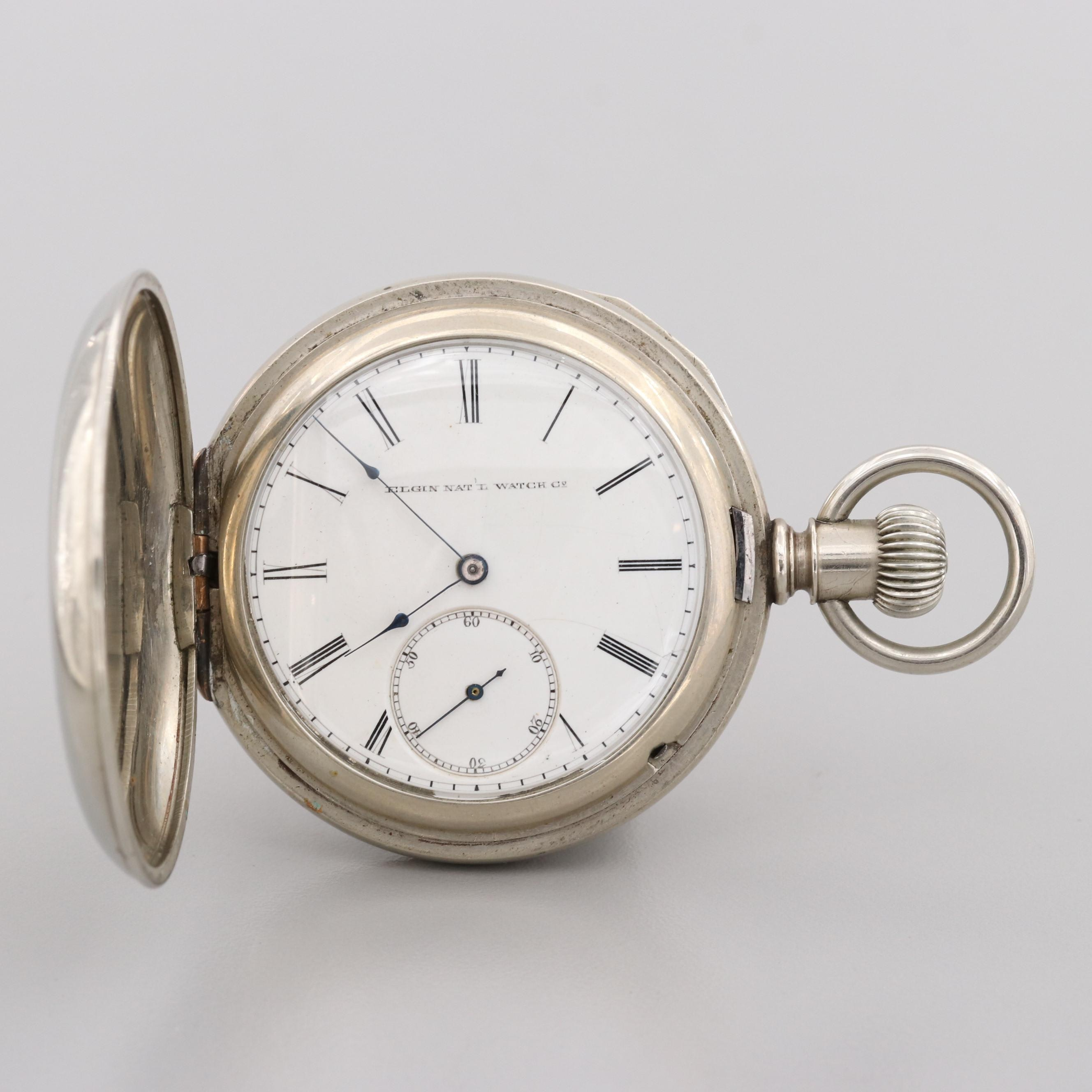 Antique Elgin Nickel Hunter Case Pocket Watch, 1887