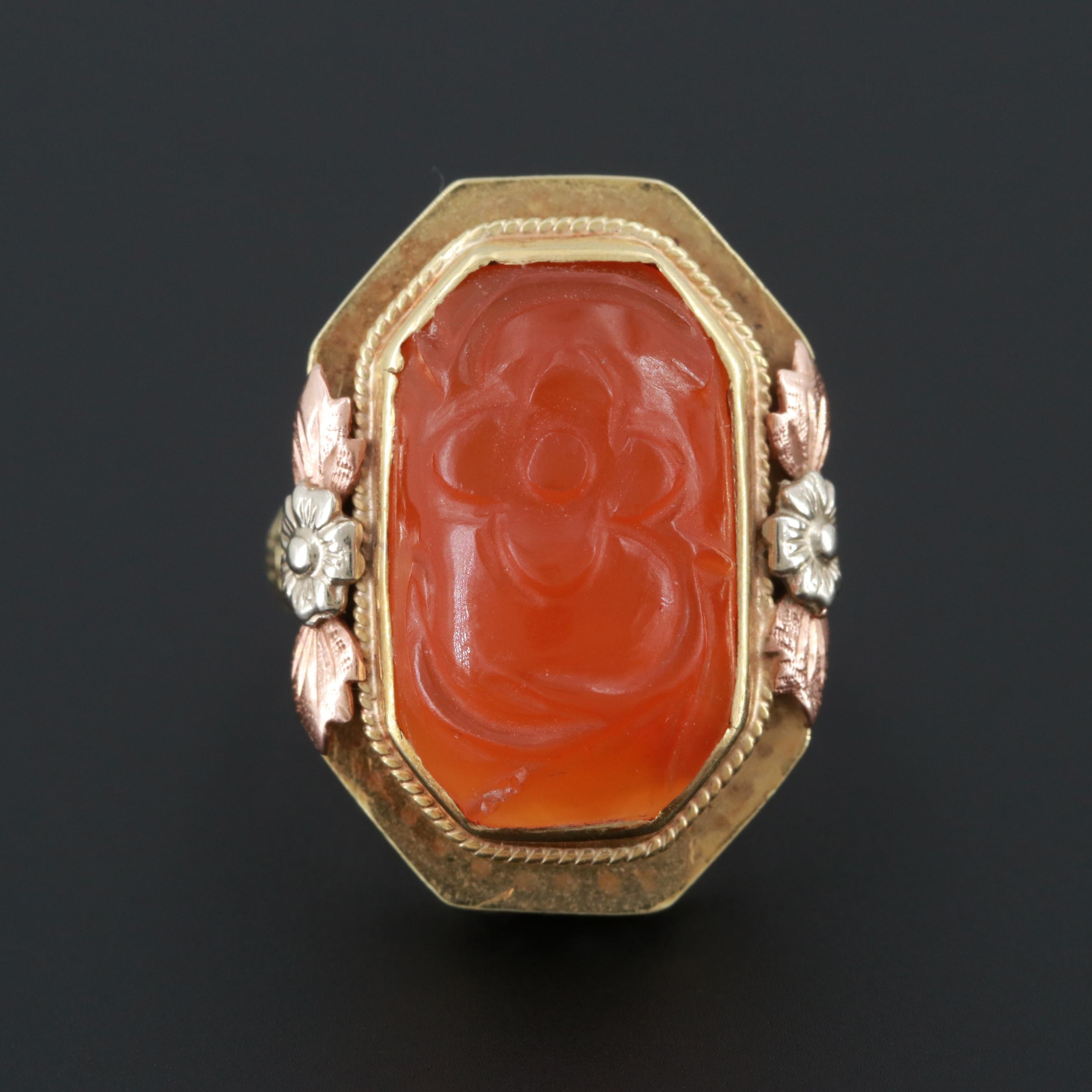 Victorian 14K Yellow Gold Carnelian Ring with Rose and White Gold Accents