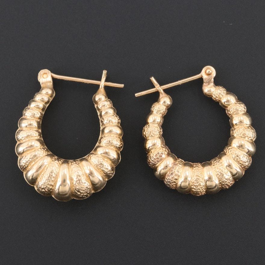 8f6d9956963cb 14K Yellow Gold Shrimp Hoop Earrings