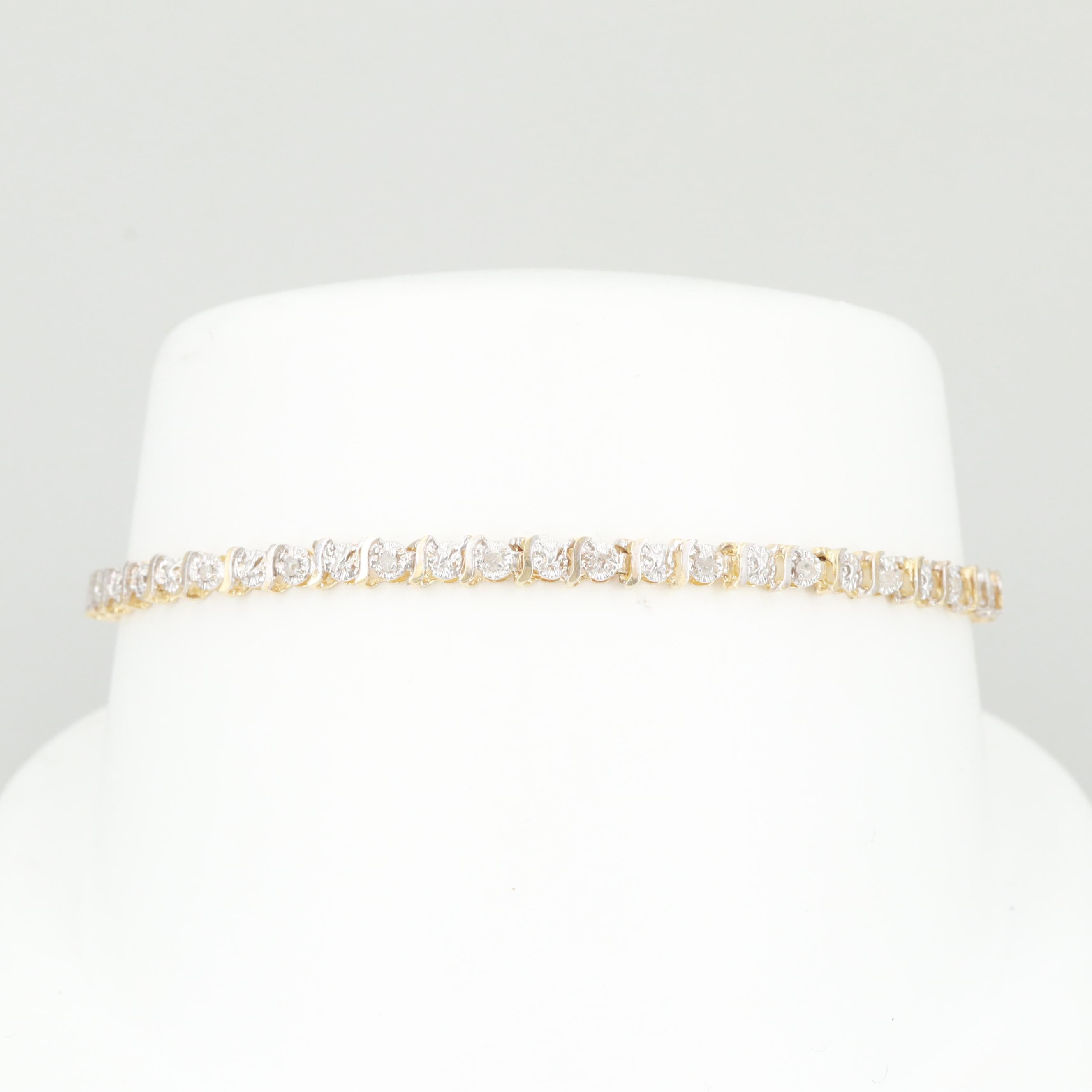 10K Yellow Gold Diamond Tennis Style Bracelet
