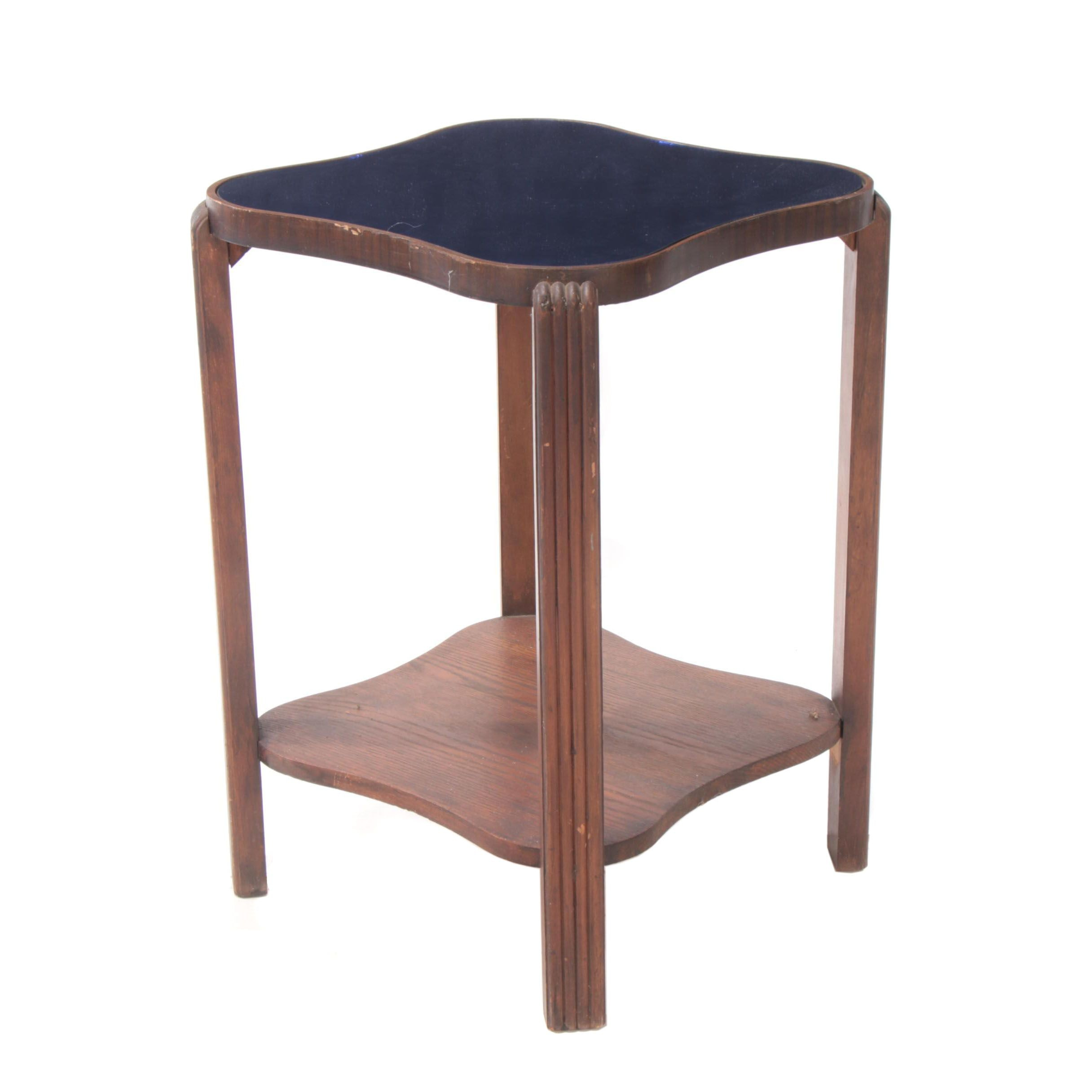 Walnut Stained End Table with Blue Mirrored Glass Top, Late 20th Century