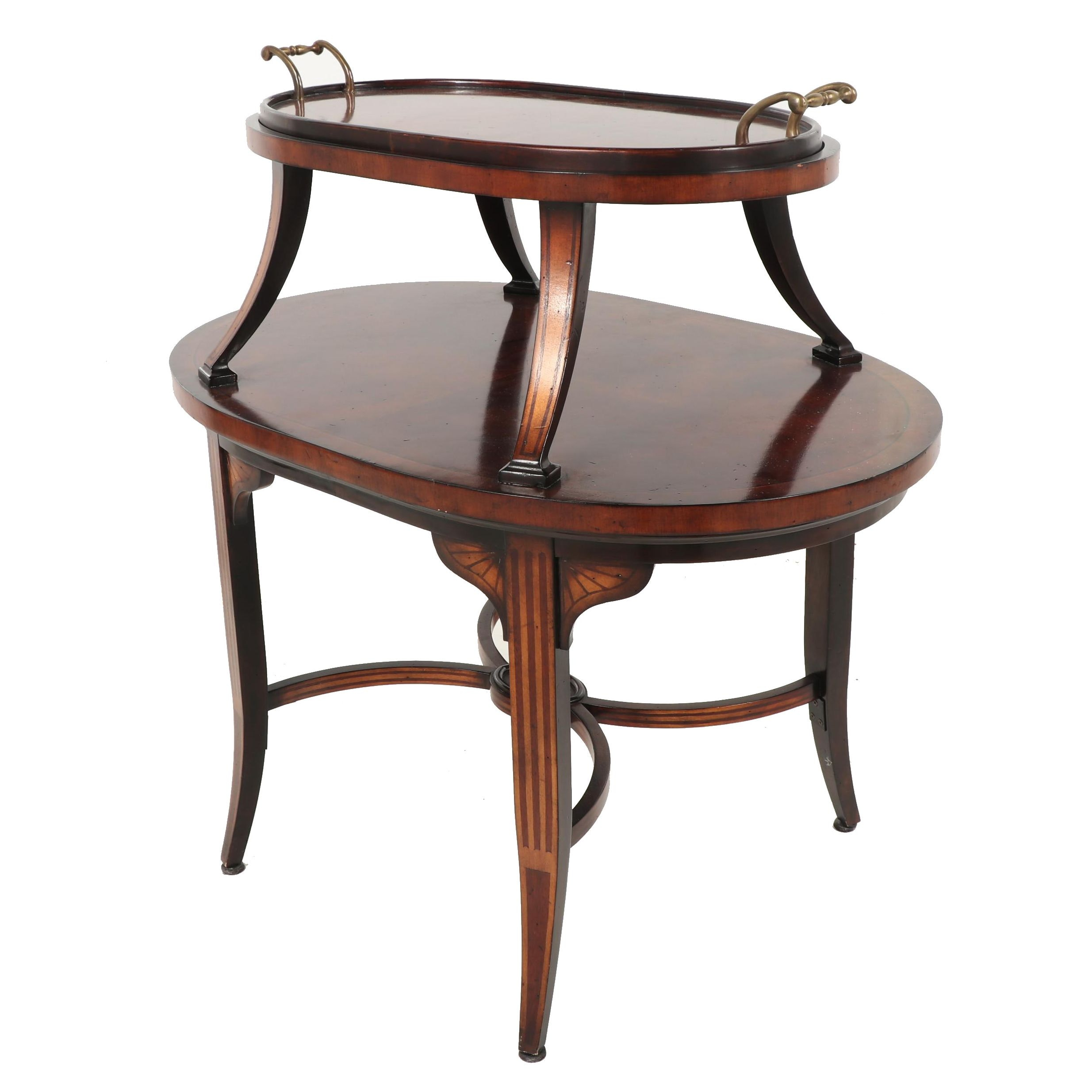 Regency Style Wooden Two-Tiered Serving Table, Contemporary
