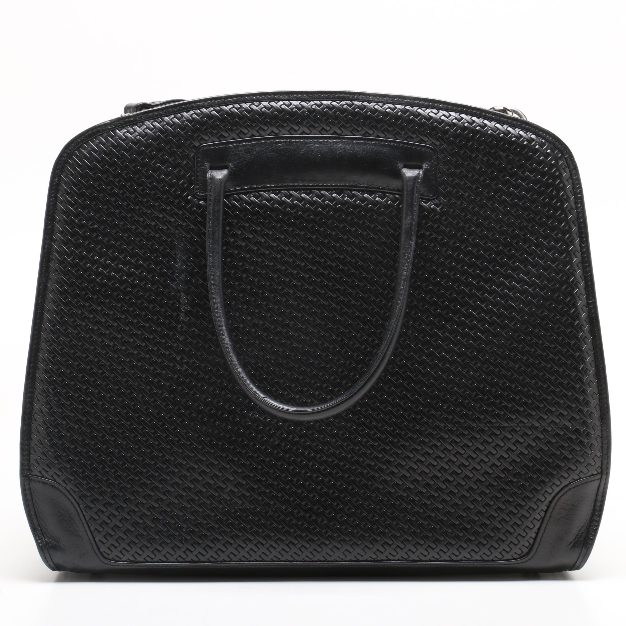 Bosca Black Woven Leather Tote bag