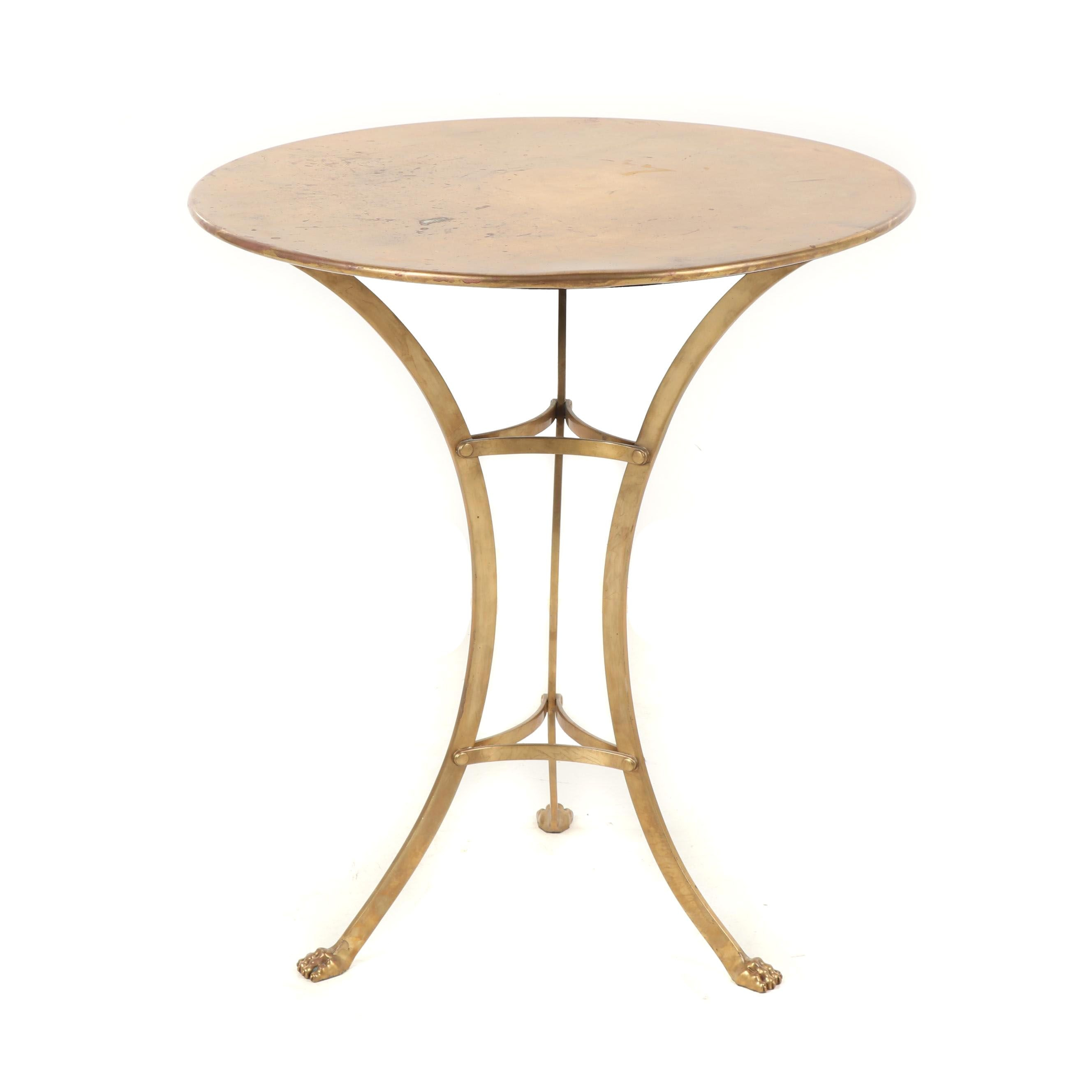 Brass Side Table with Claw Feet, Mid to Late 20th Century