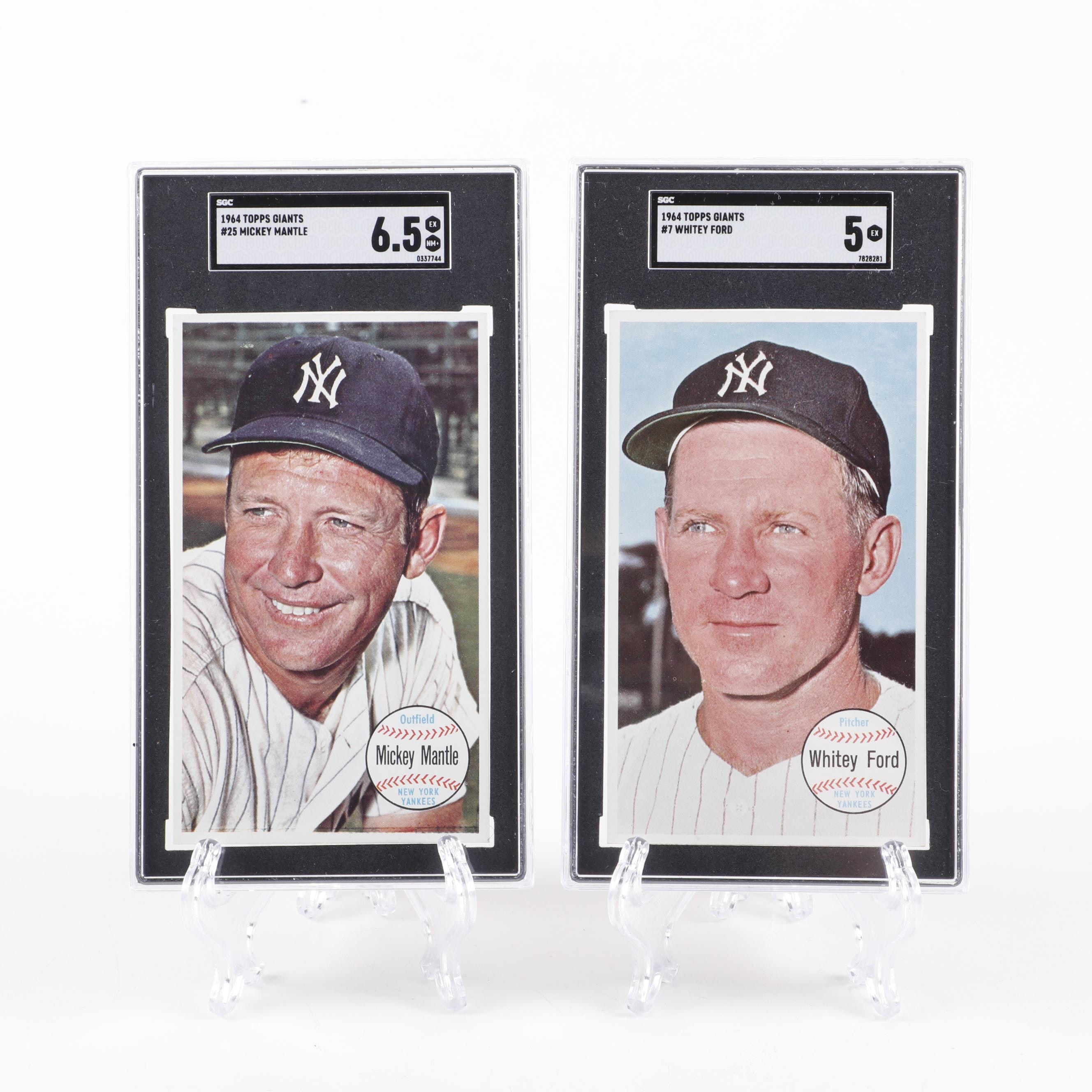 1964 Mickey Mantle and Whitey Ford Topps Baseball Cards