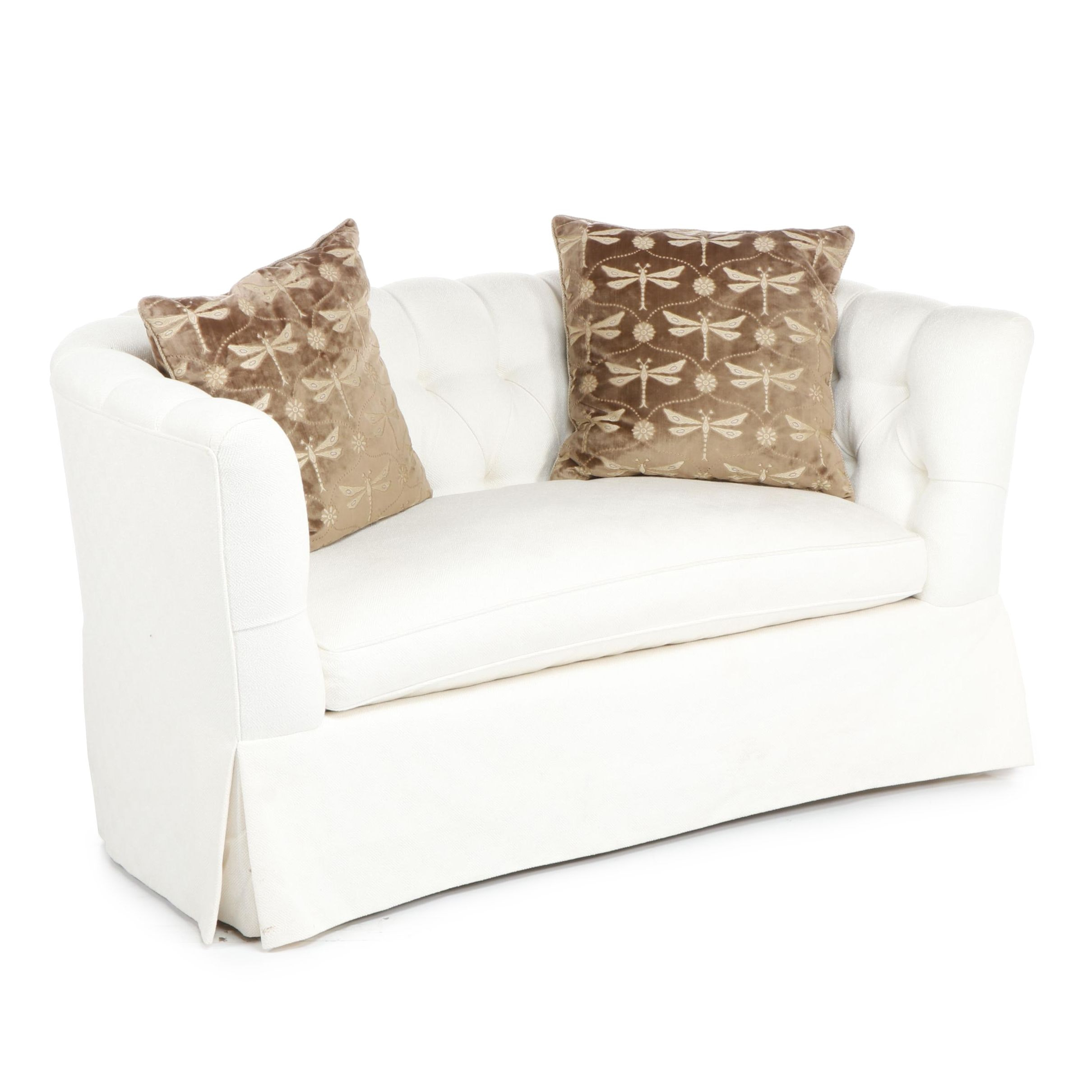Mid-Century White Upholstered Tufted Curved Back Sofa with Accent Pillows
