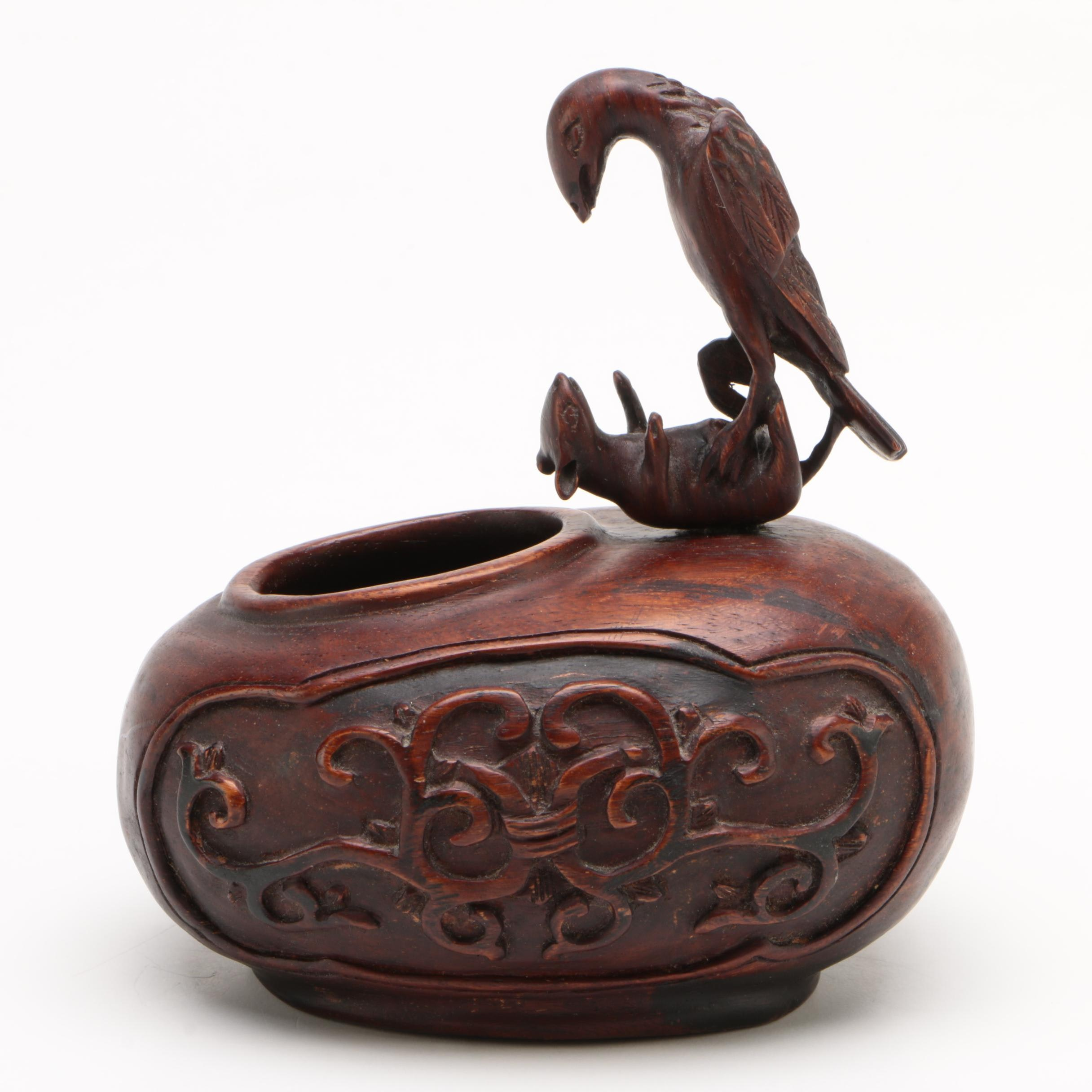 Chinese Carved Wood Figural Inkwell With Raven And Rat, Qing Dynasty