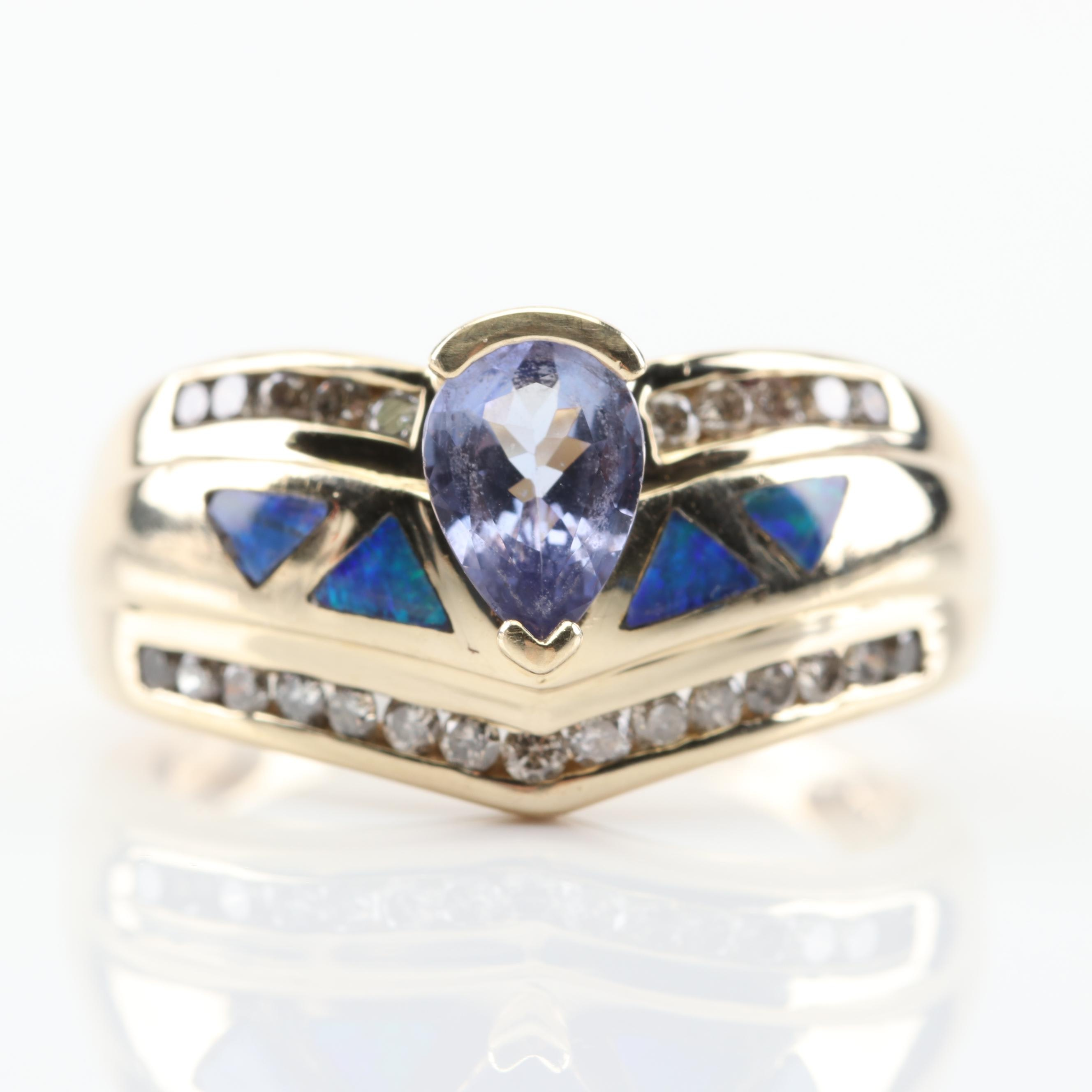 14K Yellow Gold Tanzanite, Diamond and Opal Doublet Inlay Ring