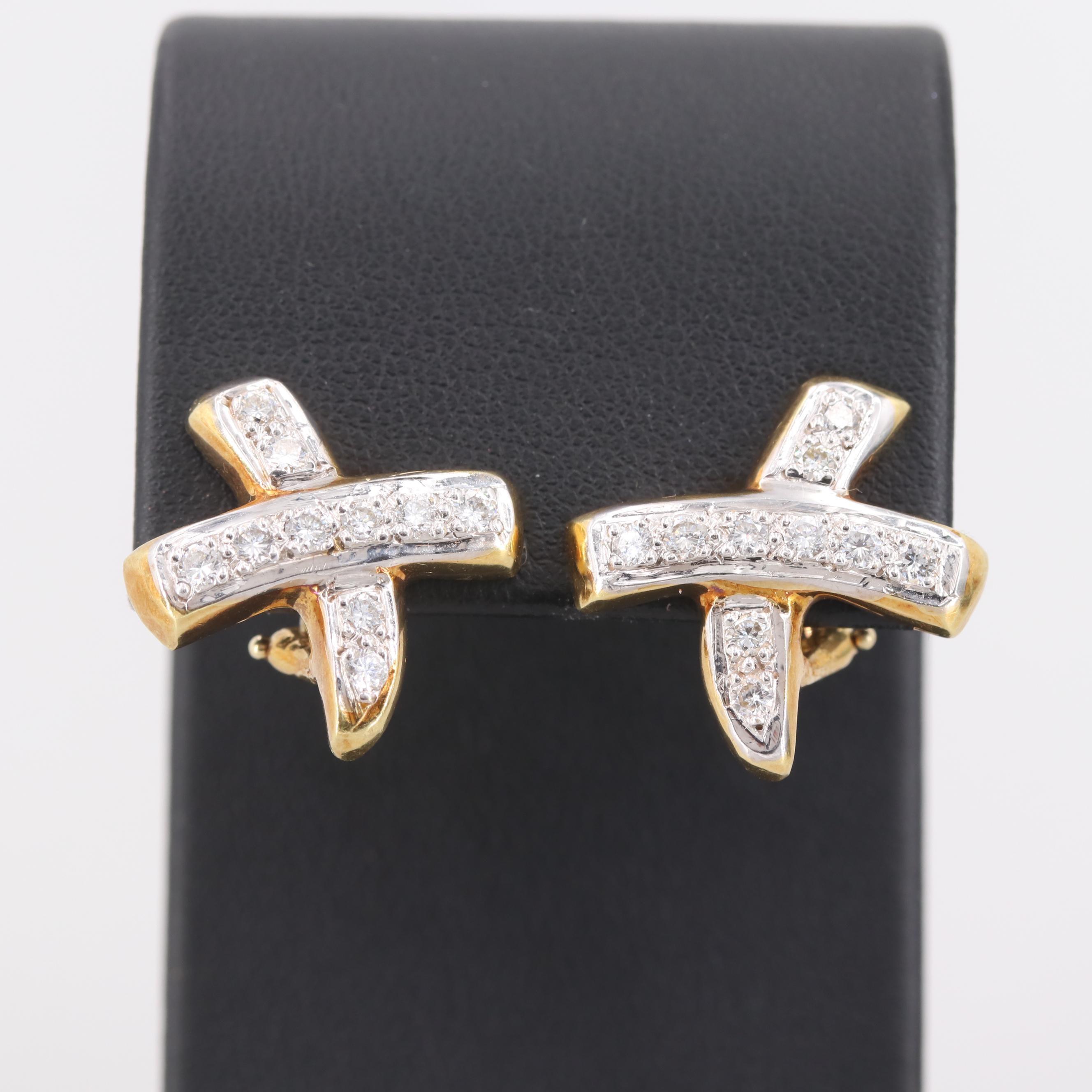 18K and 14K Yellow Gold Diamond Earrings