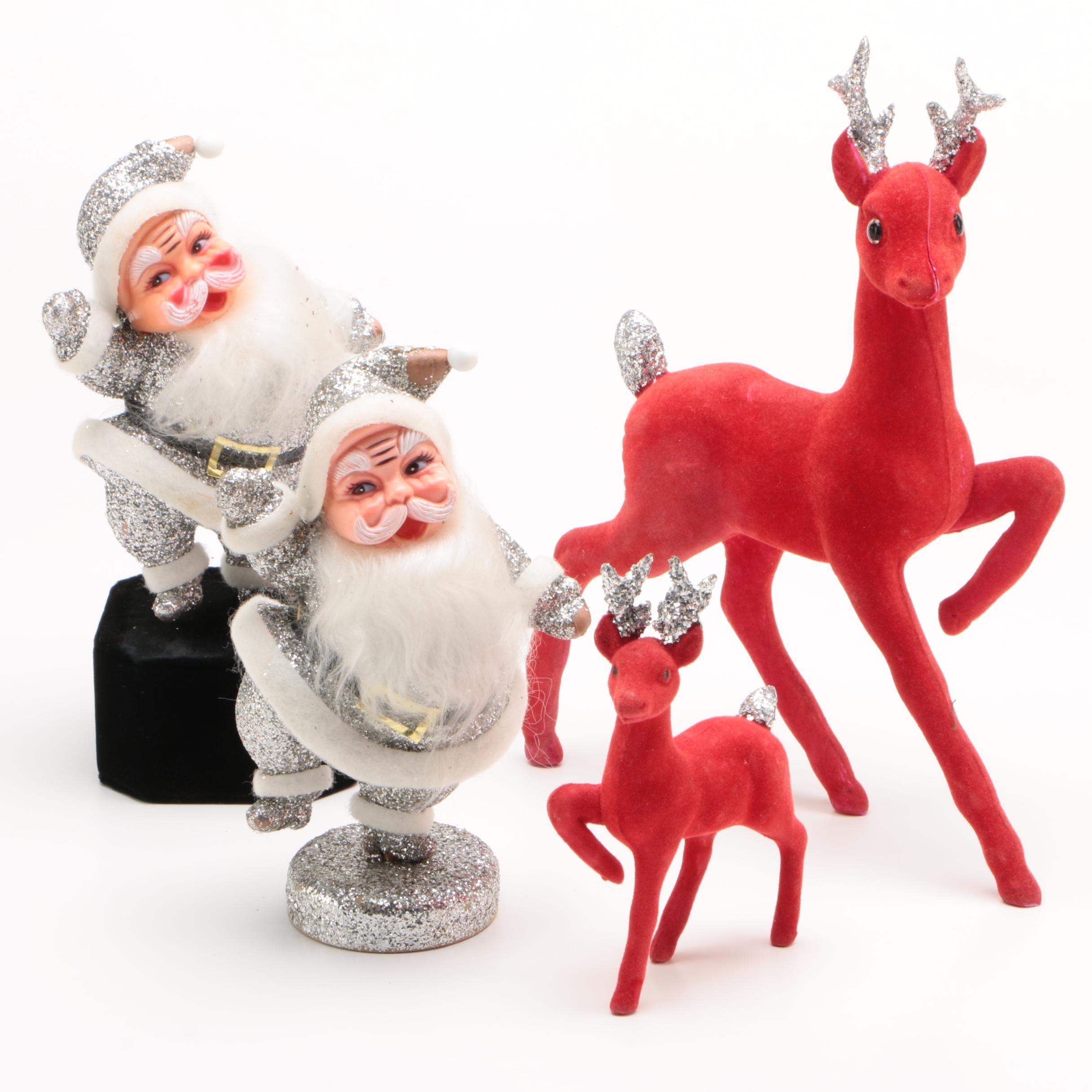 Japanese Putz Glitter Santa and Reindeer Figurines, Mid-Century