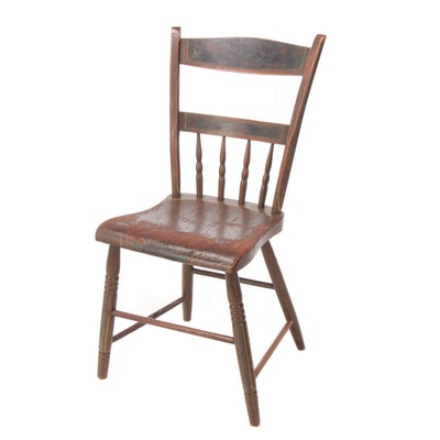 American Paint-Decorated Plank-Seat Side Chair, Mid 19th Century