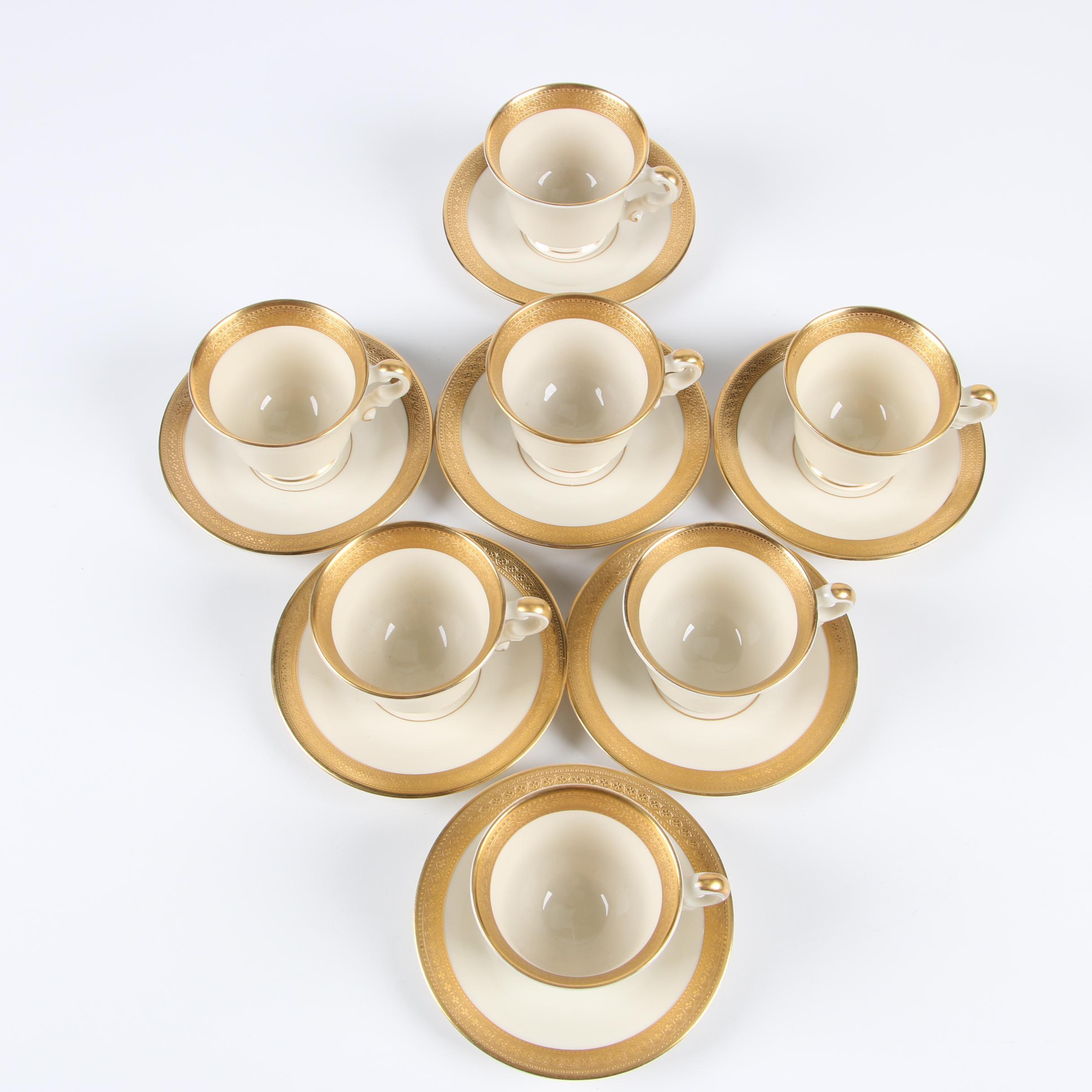 """Syracuse Old Ivory """"Bracelet"""" Ceramic Teacups and Saucers, Mid-Century"""