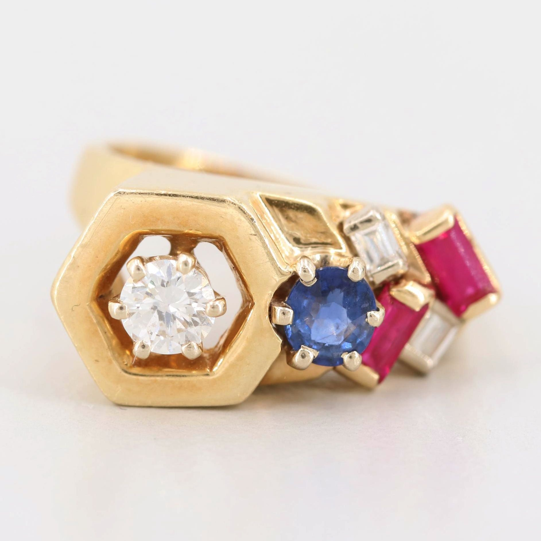 14K Yellow Gold Diamond, Sapphire, and Synthetic Ruby Ring