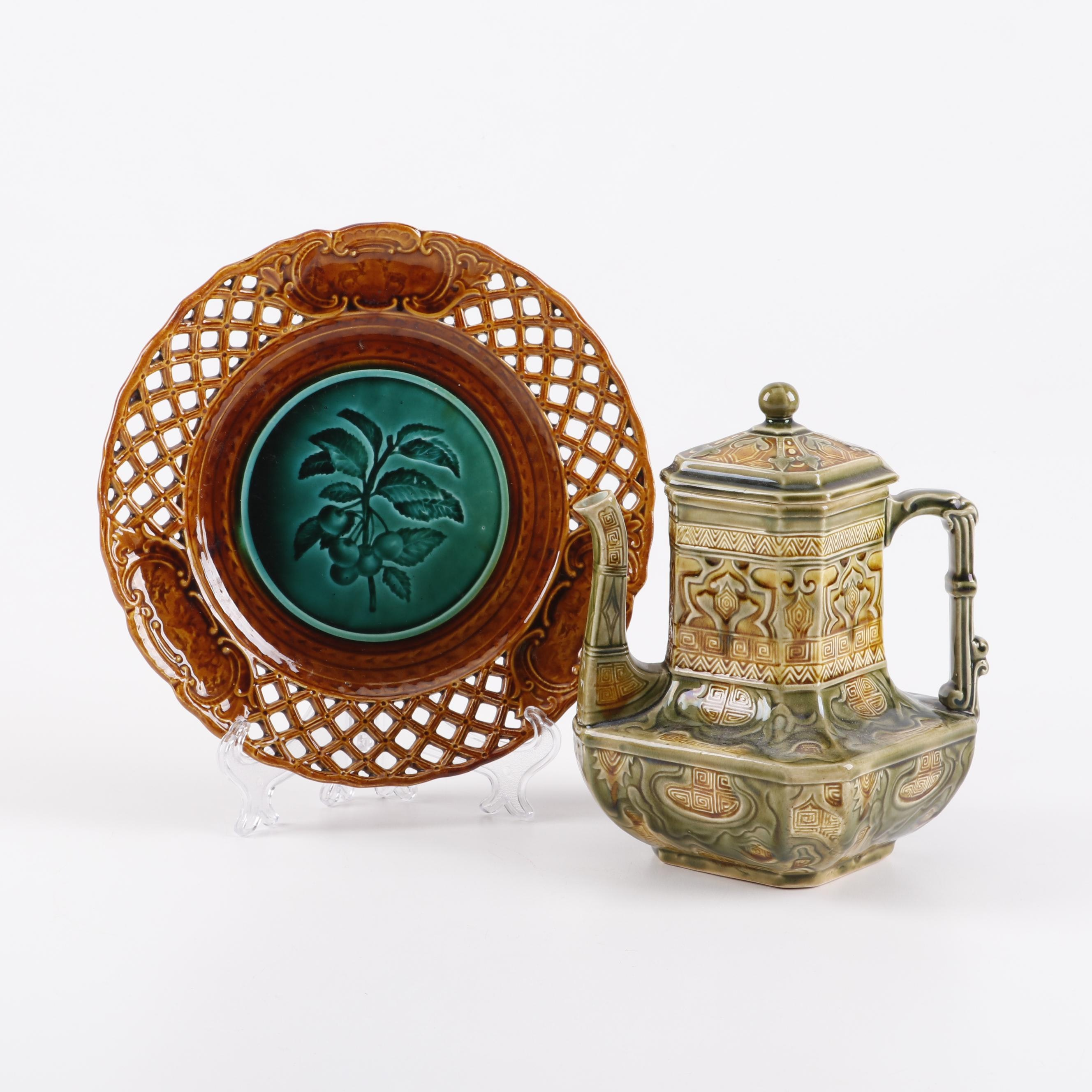 Vintage French Majolica Earthenware Teapot and Plate