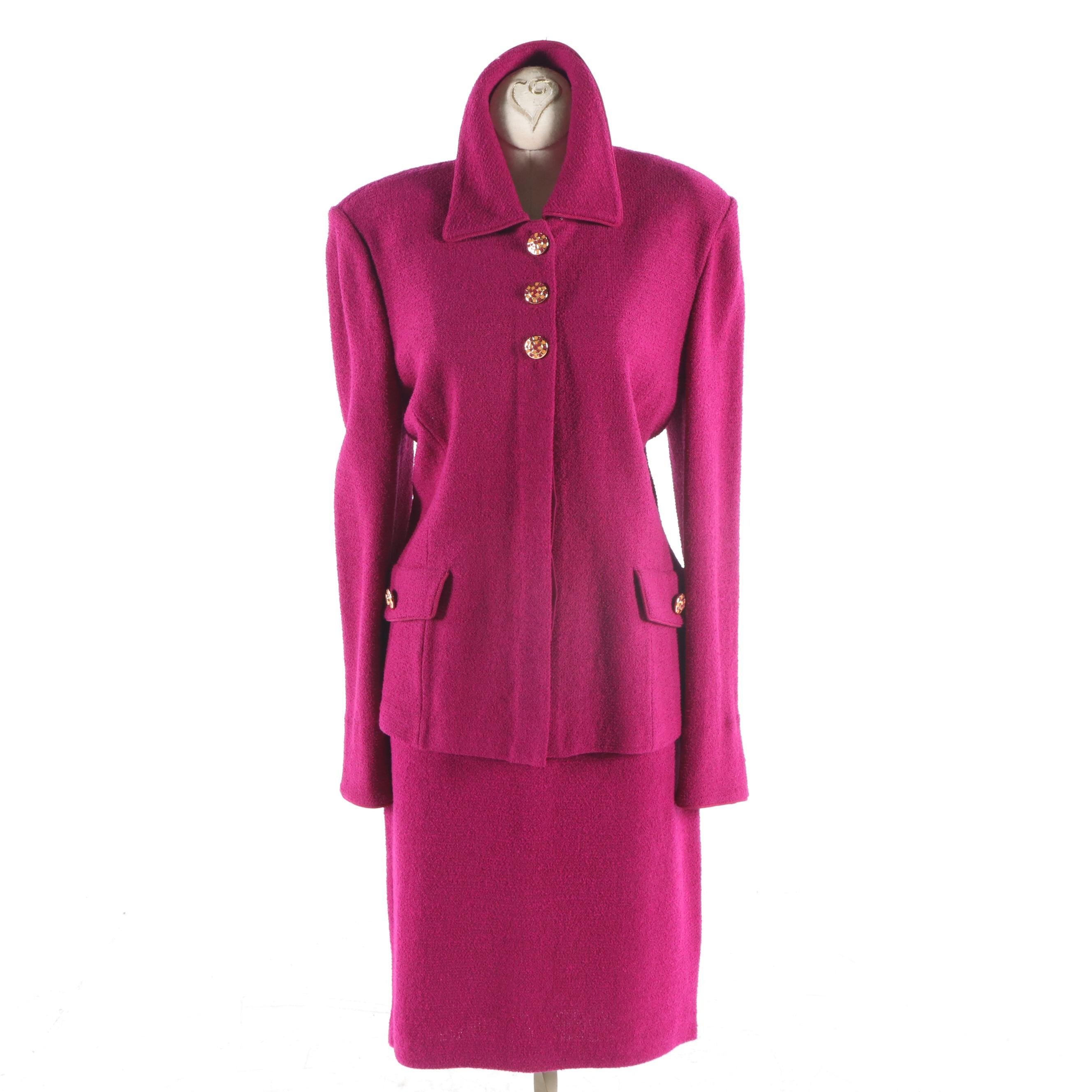 Women's St. John Collection Fuchsia Two-Piece Skirt Suit