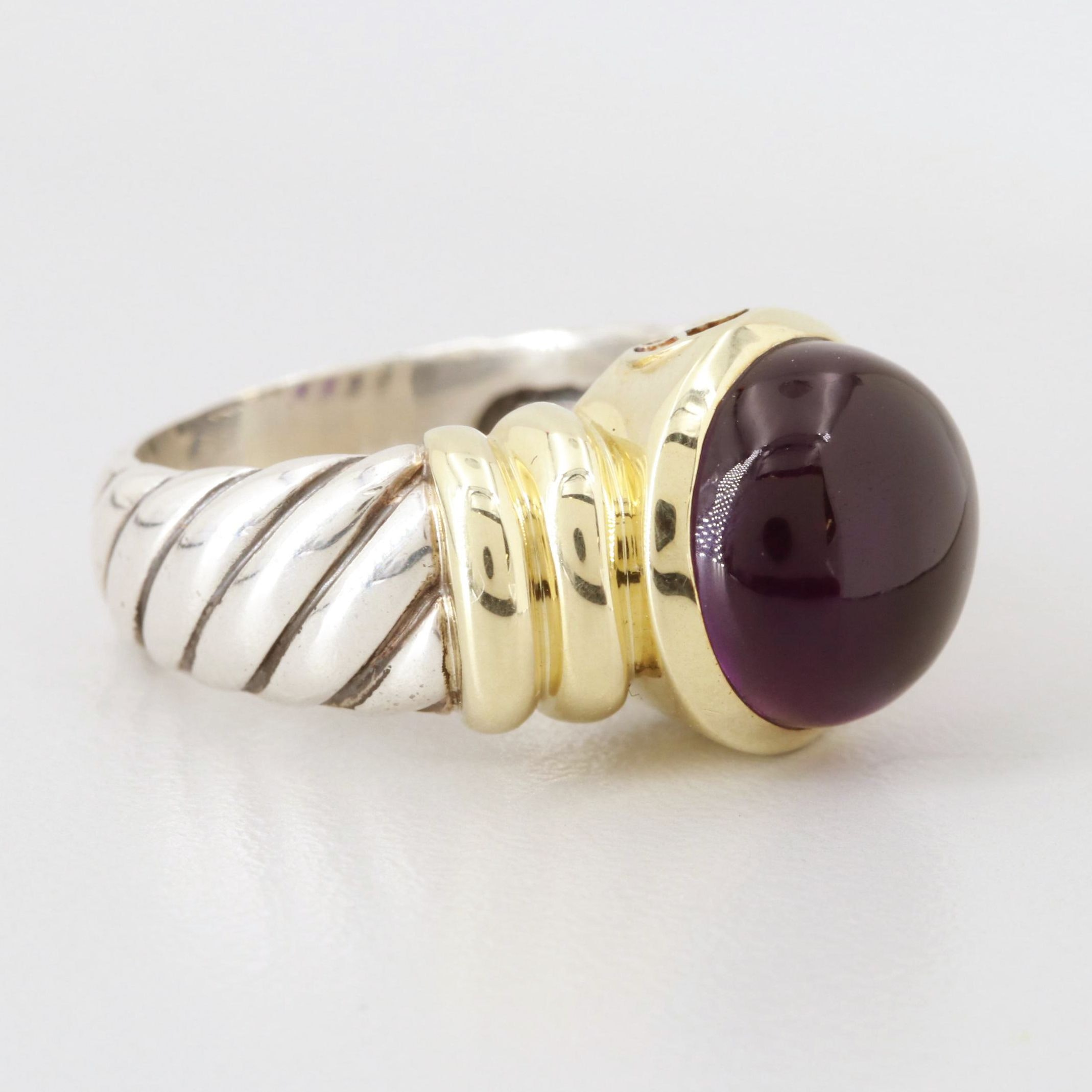 David Yurman Sterling Silver Amethyst Ring with 14K Yellow Gold Accent