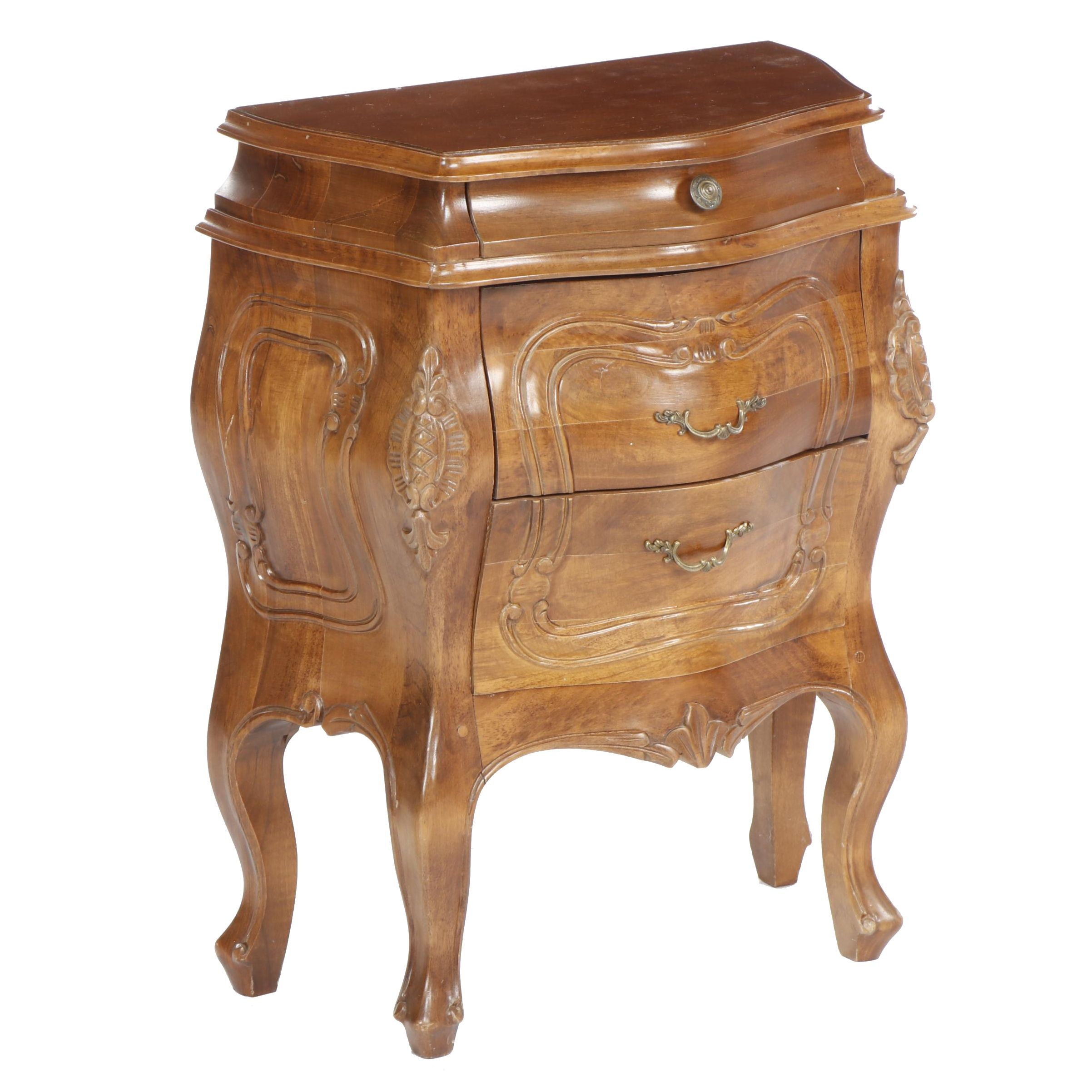 Small French Style Walnut Burl Veneer Bombe Chest