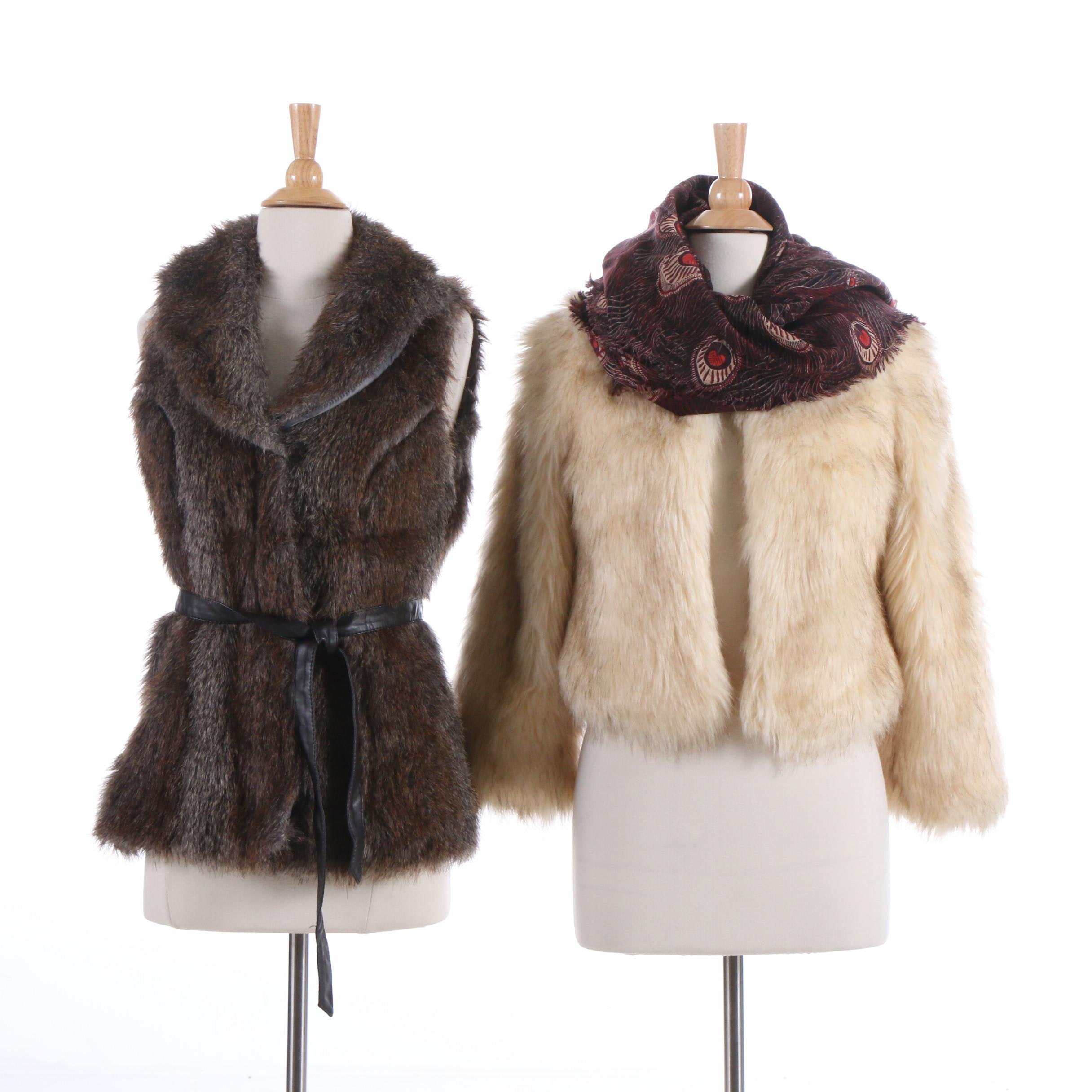 Skies Are Blue and Révue Faux Fur Vest Outerwear and Liberty of London Scarf