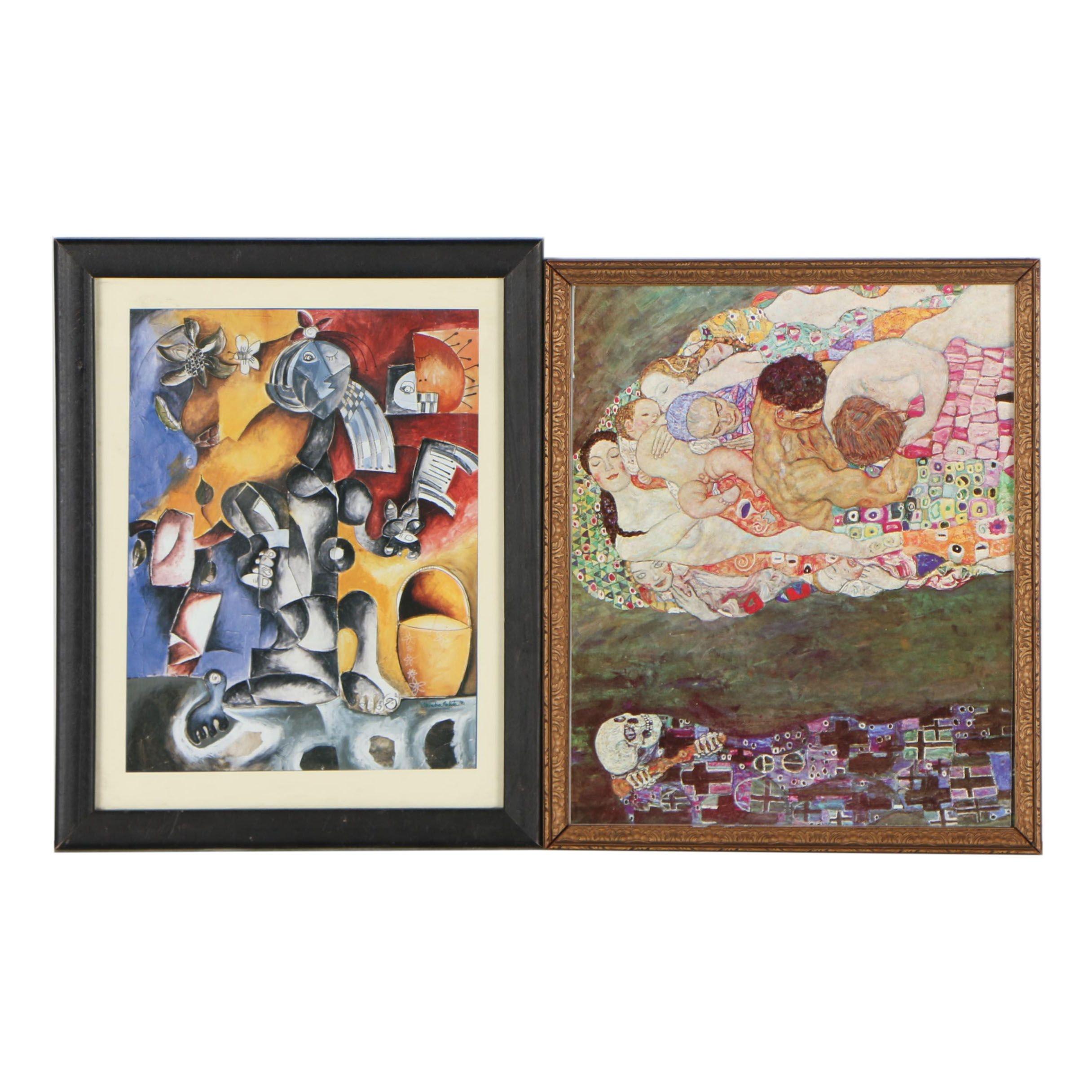 Offset Lithographs after Gustav Klimt and Alexandra Nechita