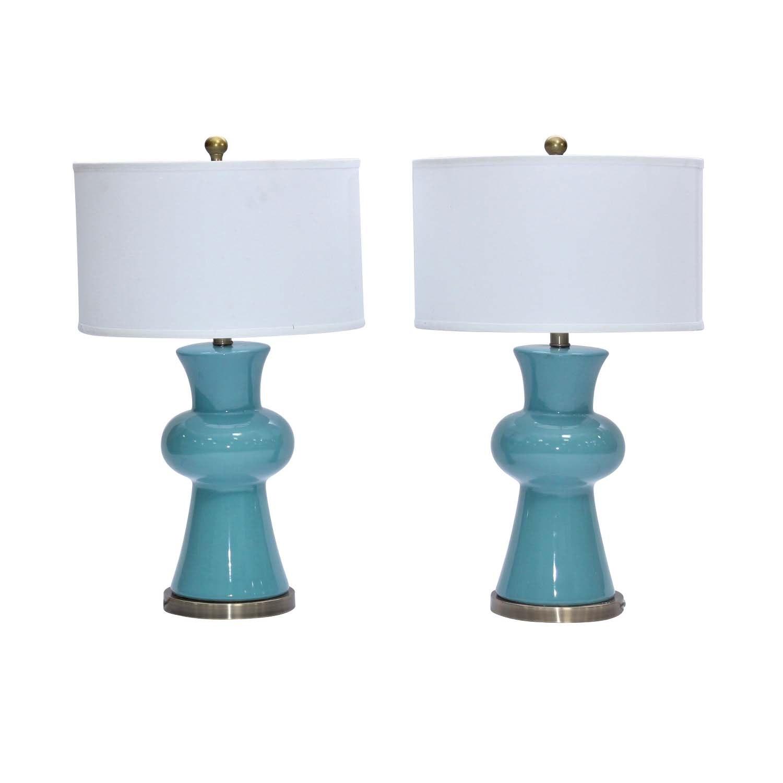 "Safavieh ""Lola"" Turquoise Ceramic Table Lamps, Contemporary"