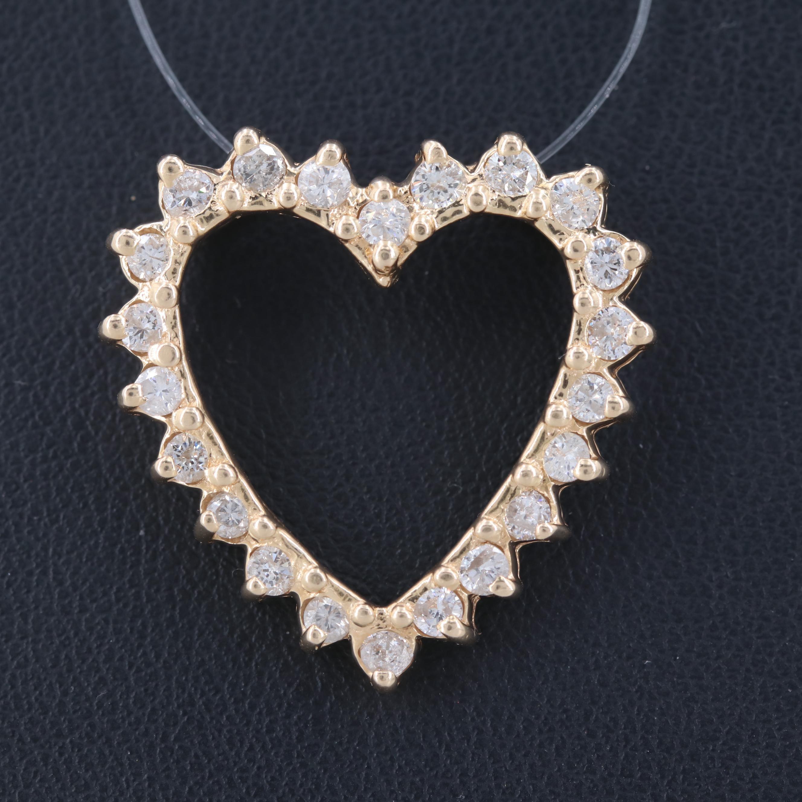 14K Yellow Gold Heart Shaped 1.04 CTW Diamond Pendant
