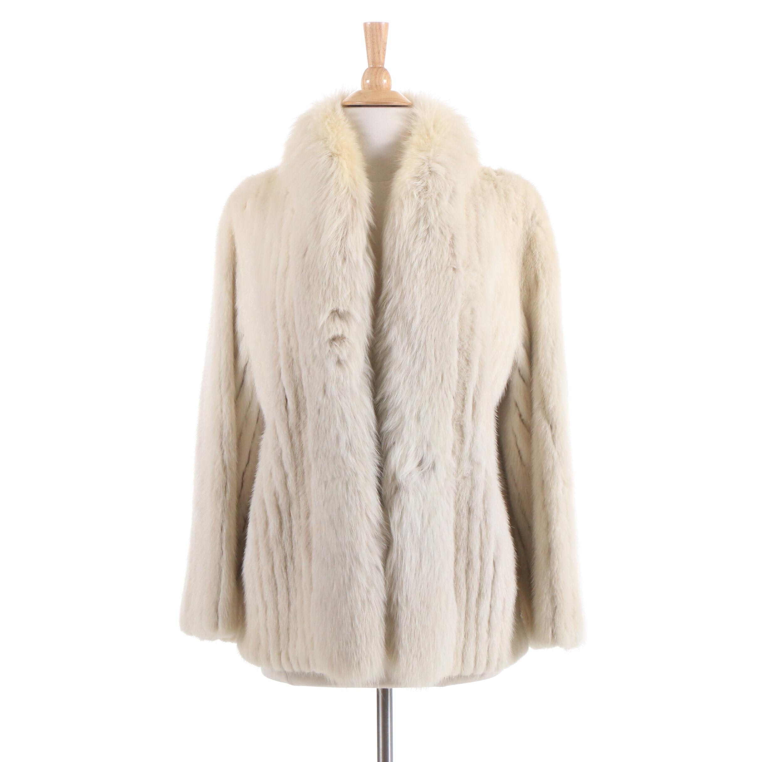 Schimmel Furs Mink Fur Coat with Fox Fur Tuxedo Collar, Vintage
