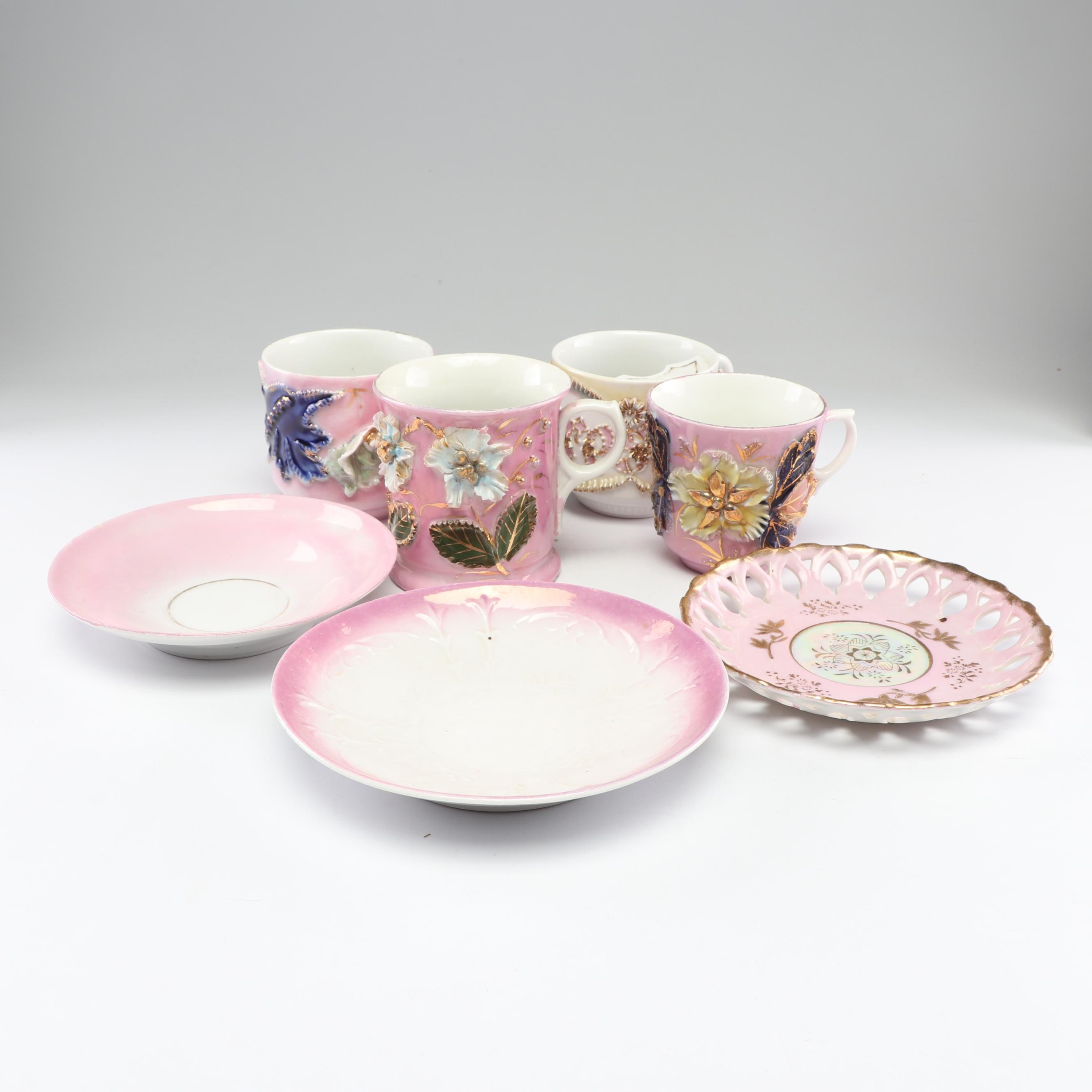 Victorian Mustache Cup with German Pink Lustreware Cups and Saucers